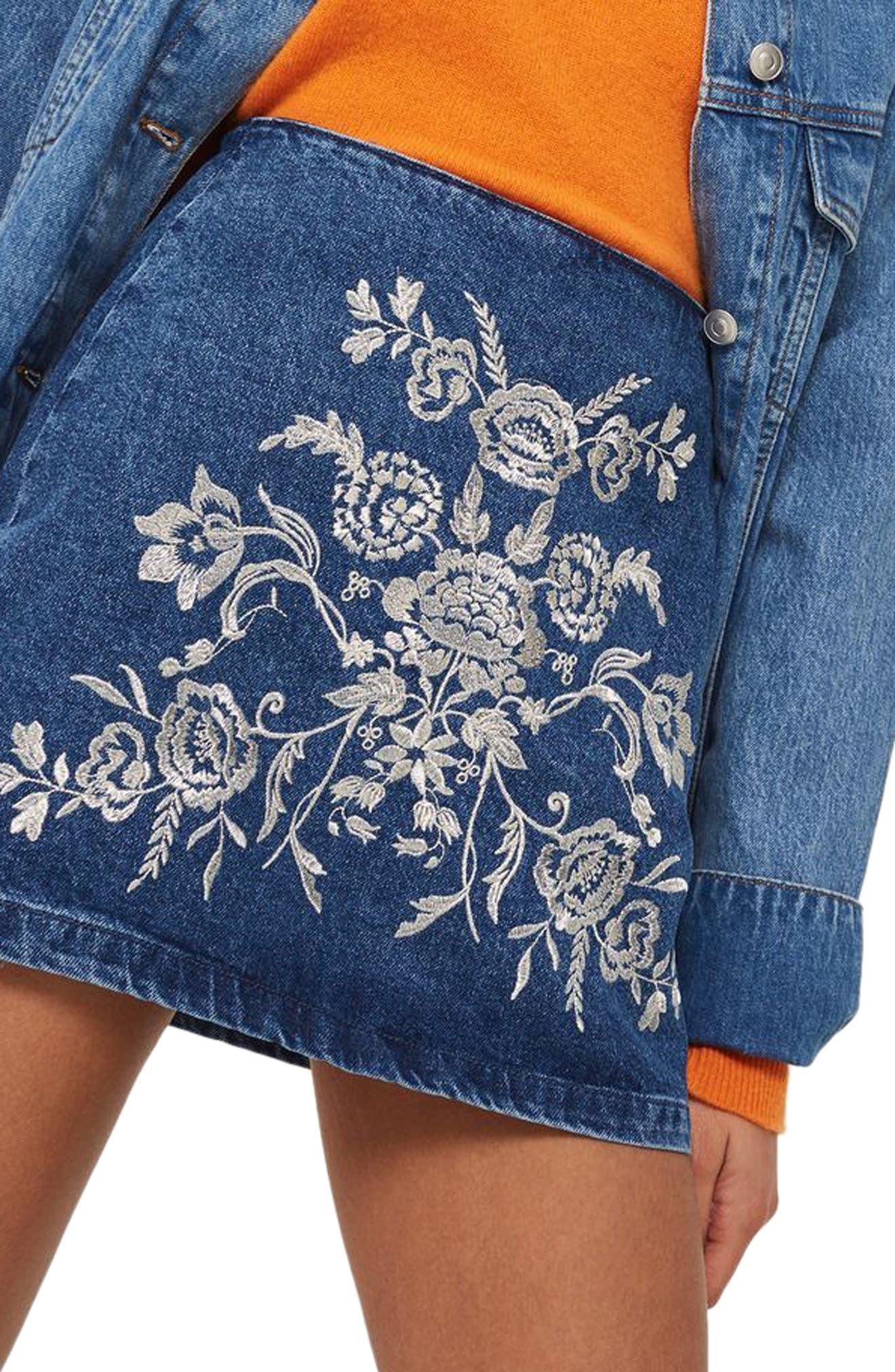 Floral Embroidered A-Line Skirt,                             Alternate thumbnail 2, color,                             Mid Denim