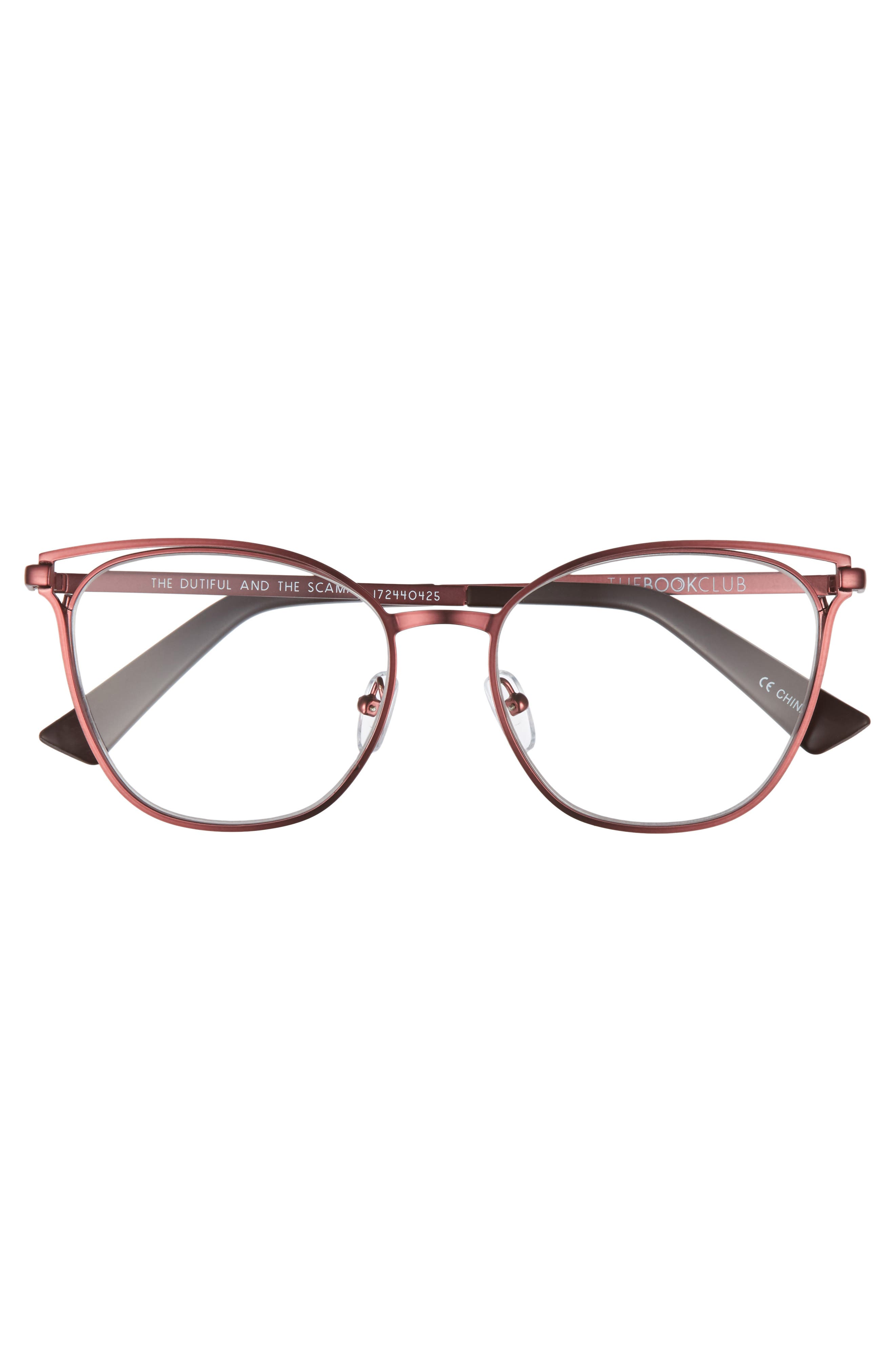 The Dutiful And The Scammed 53mm Reading Glasses,                             Alternate thumbnail 3, color,                             Wine