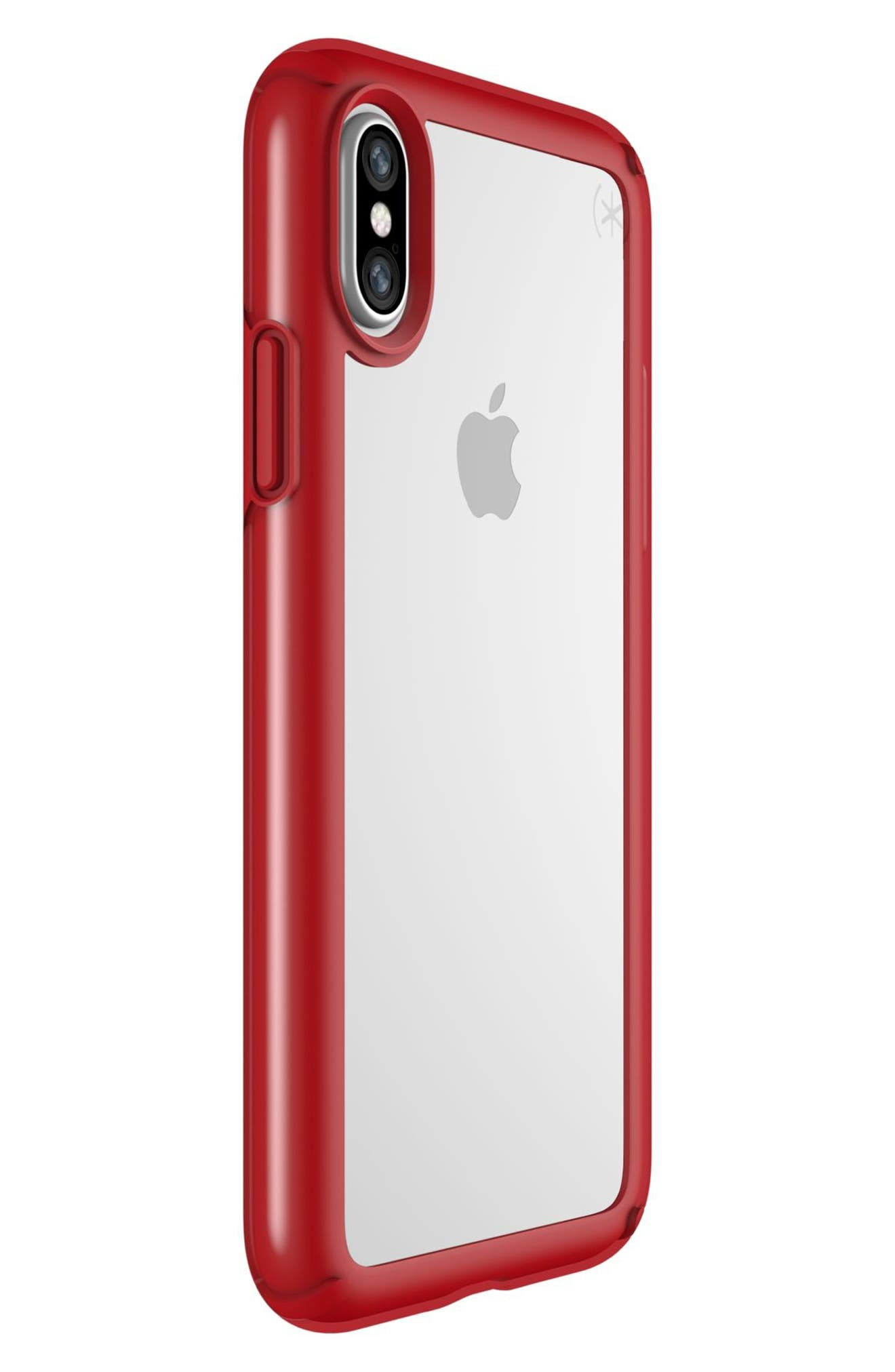 Transparent iPhone X Case,                             Alternate thumbnail 2, color,                             Clear/ Heartthrob Red