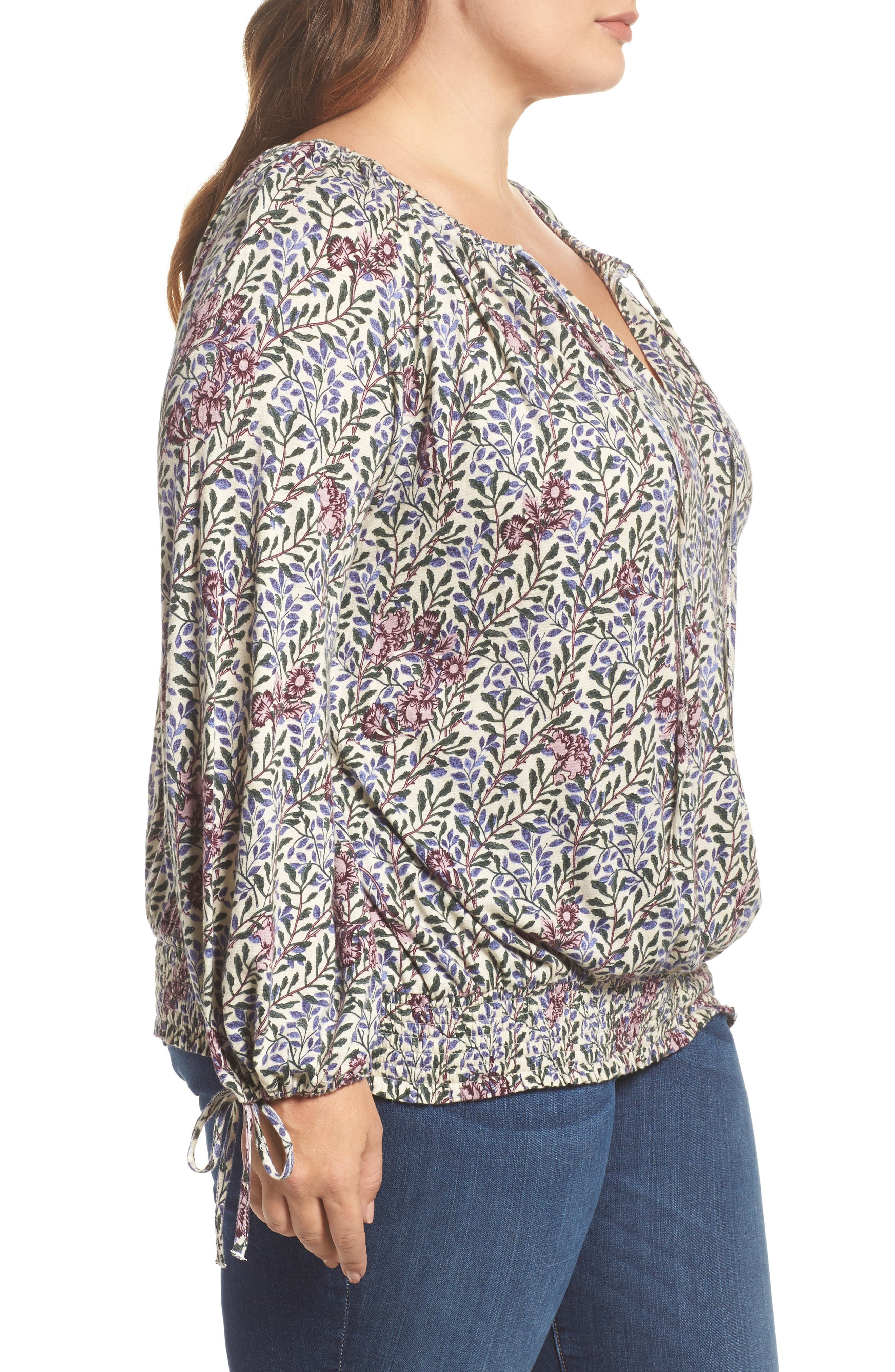 Alternate Image 3  - Lucky Brand Print Smocked Peasant Top (Plus Size)