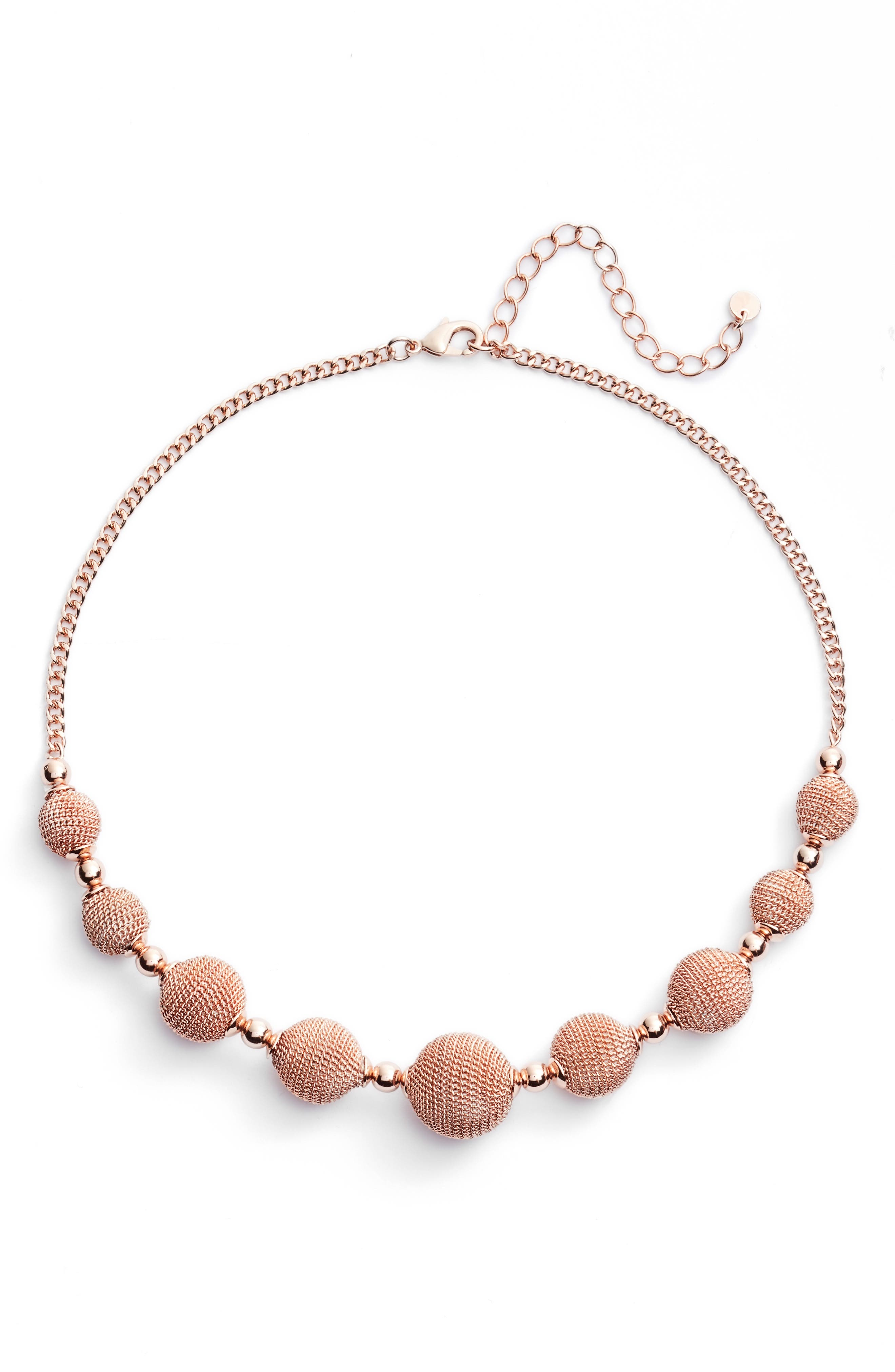 Textured Charm Collar Necklace,                         Main,                         color, Rose Gold