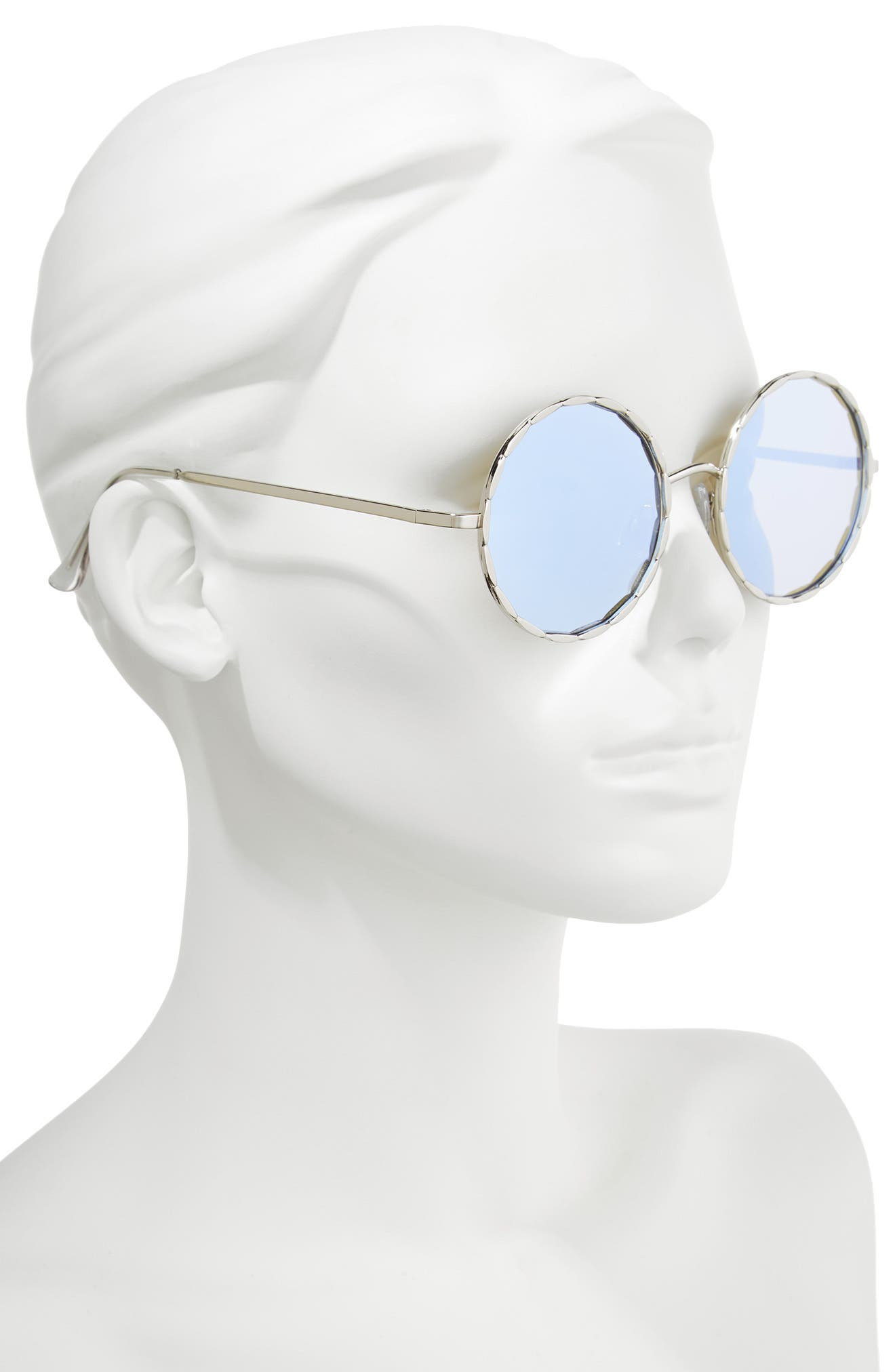58mm Textured Round Sunglasses,                             Alternate thumbnail 2, color,                             Silver/ Blue