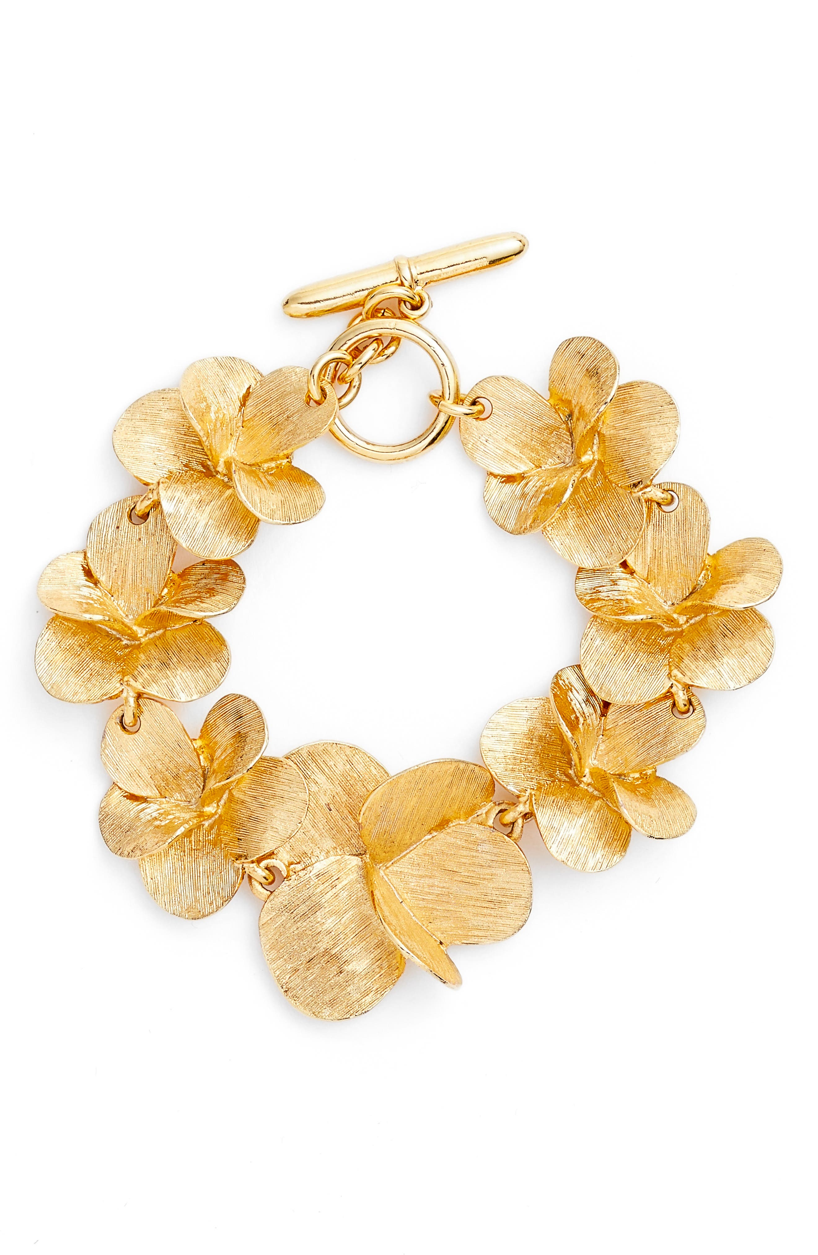 Oscar de la Renta Brushed Texture Flower Bracelet