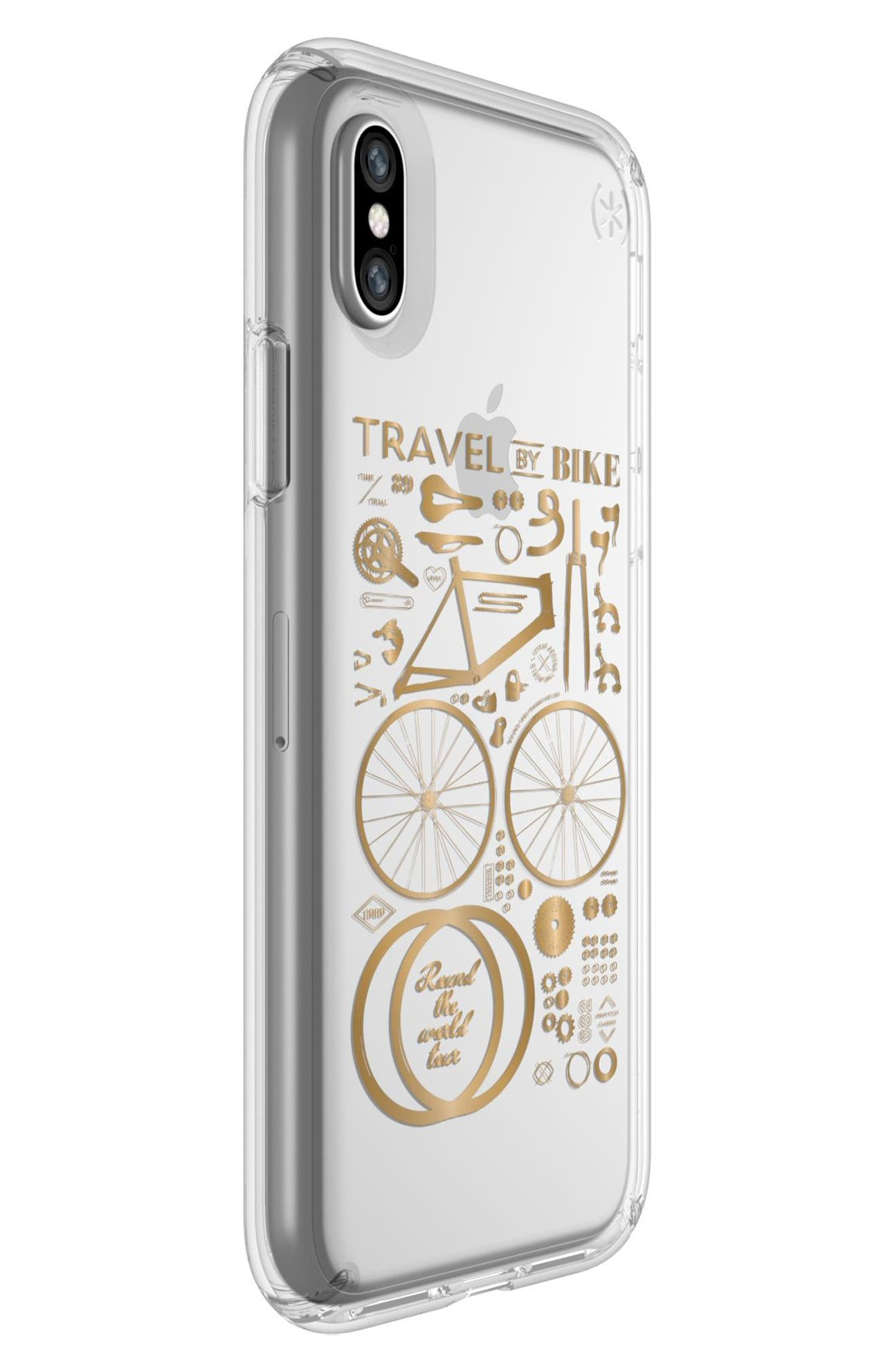 Metallic City Bike Transparent iPhone X Case,                             Alternate thumbnail 2, color,                             City Bike Metallic Gold/ Clear