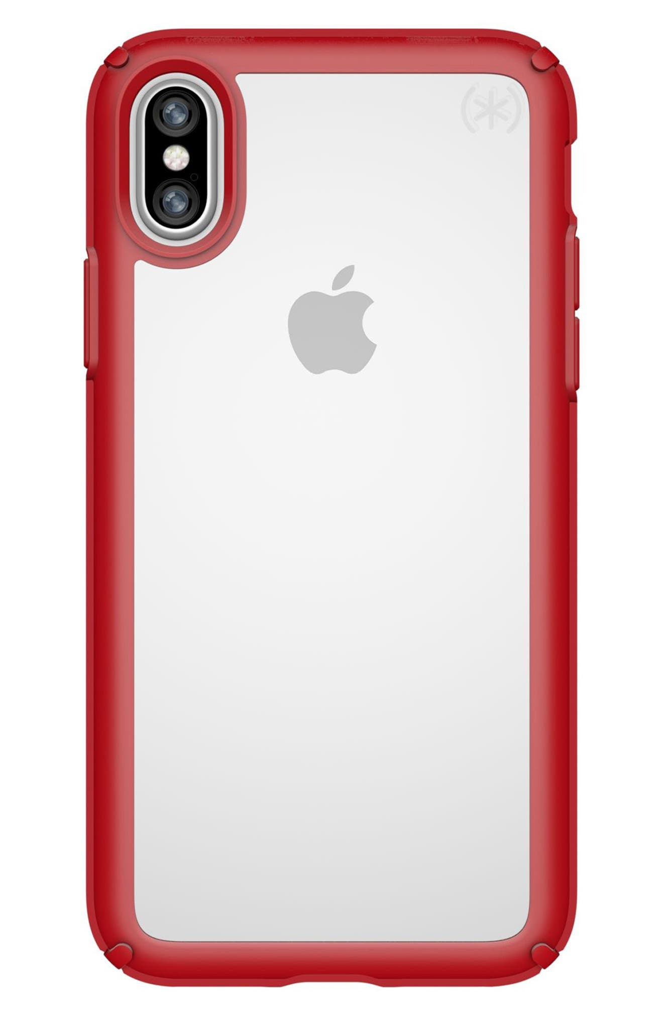 Transparent iPhone X Case,                         Main,                         color, Clear/ Heartthrob Red