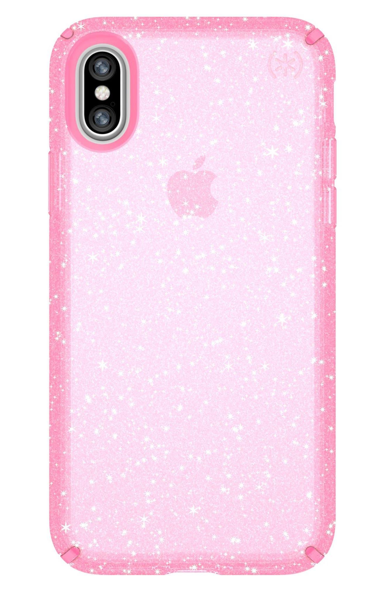 Transparent iPhone X Case,                         Main,                         color, Bella Pink Gold Glitter/ Pink