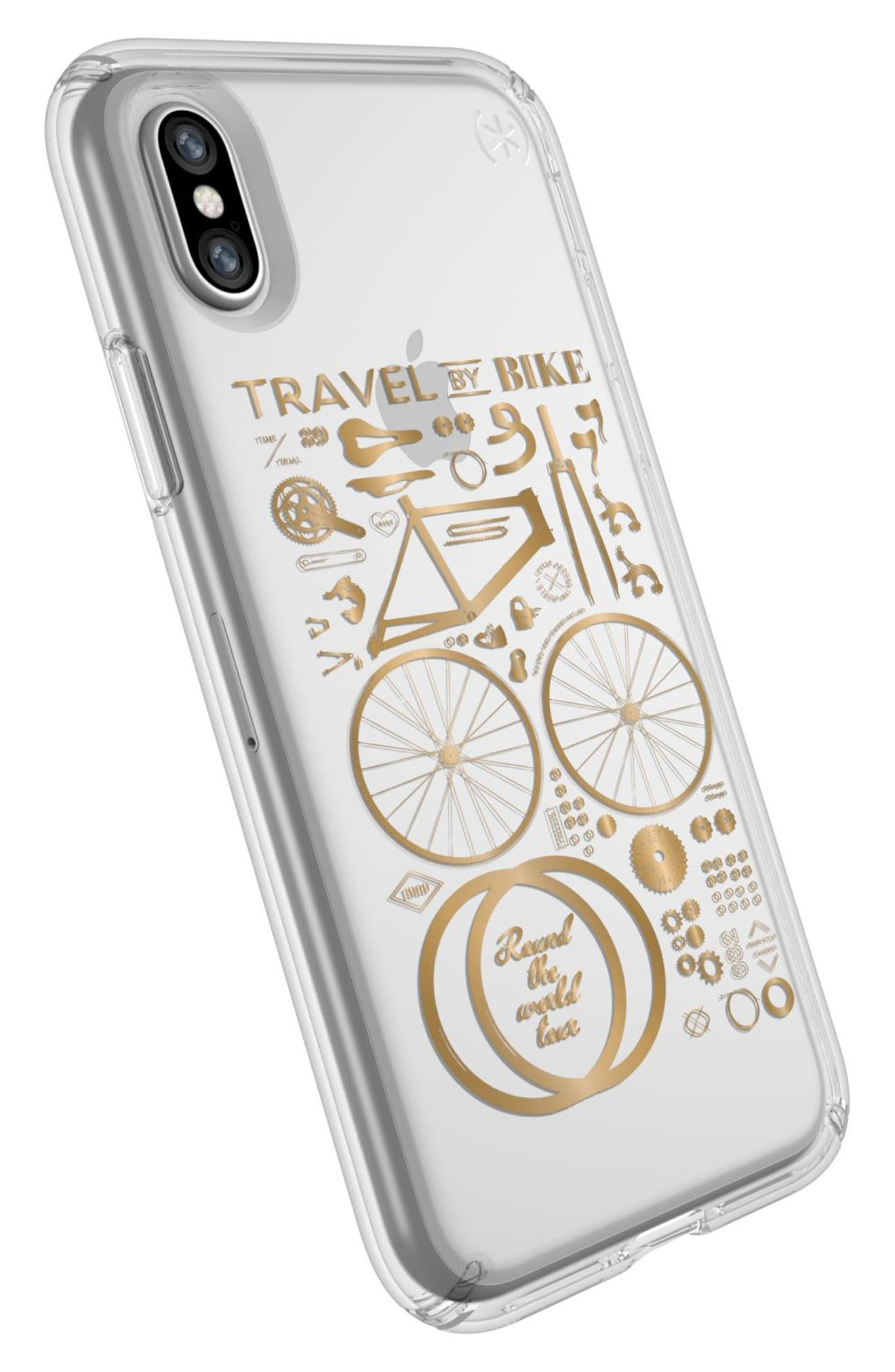 Metallic City Bike Transparent iPhone X Case,                             Alternate thumbnail 4, color,                             City Bike Metallic Gold/ Clear