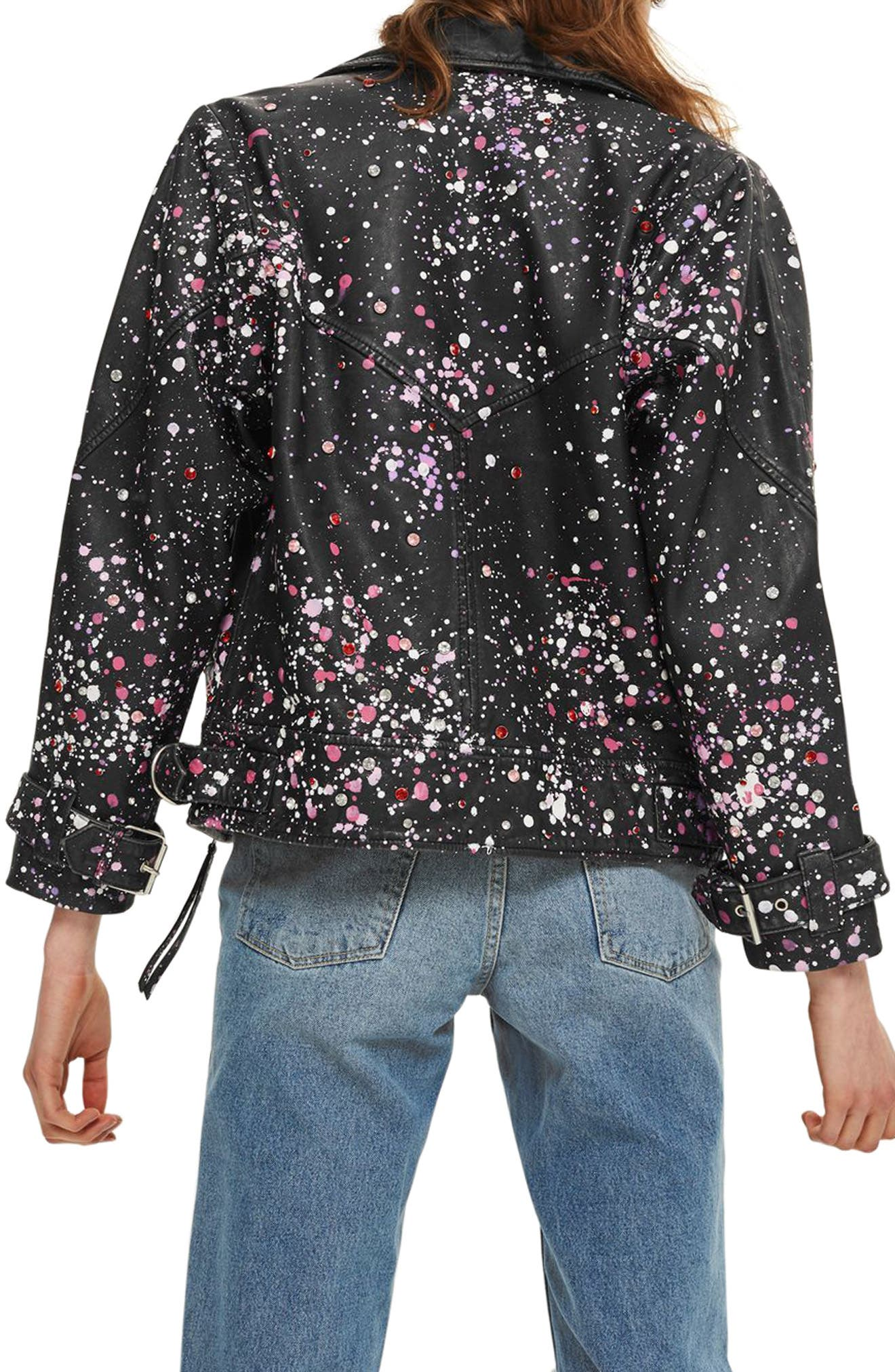 Eddie Rhinestone & Paint Splatter Leather Biker Jacket,                             Alternate thumbnail 3, color,                             Black Multi