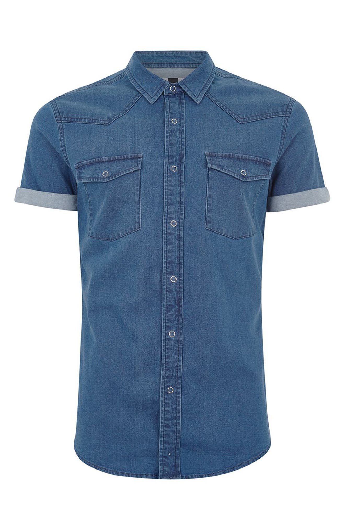 Muscle Fit Denim Shirt,                             Alternate thumbnail 4, color,                             Blue