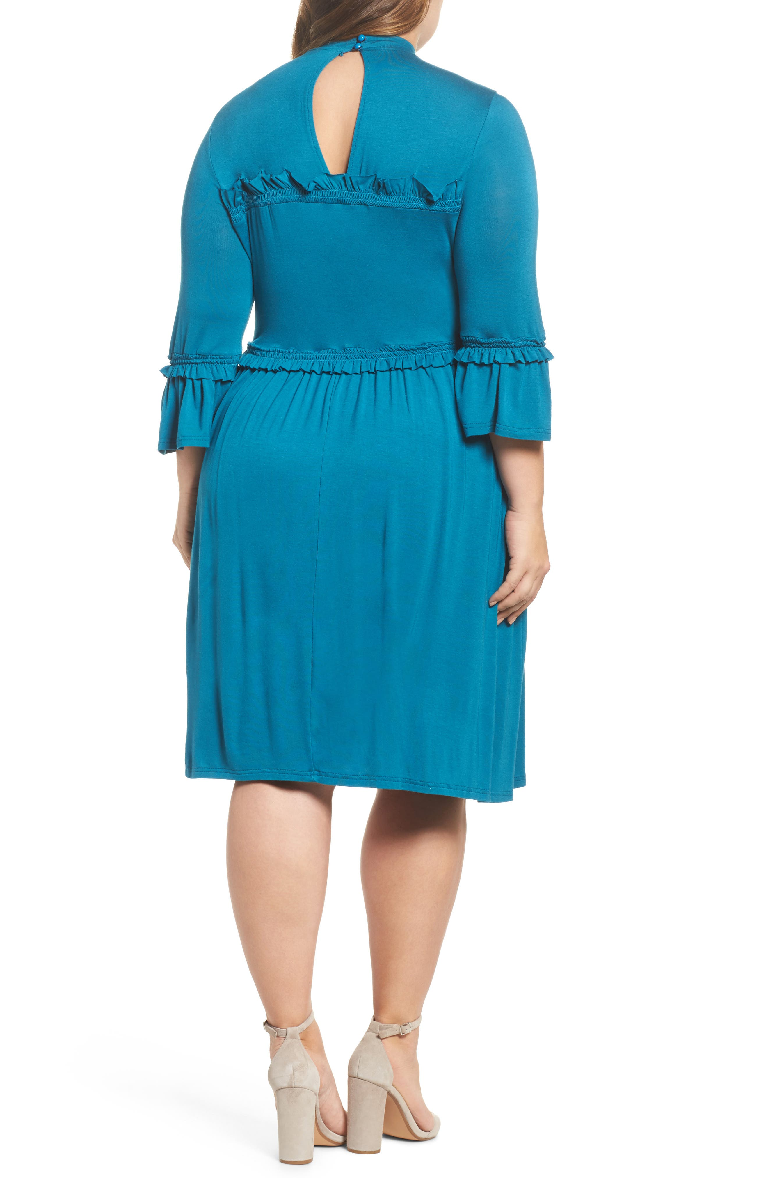 Alternate Image 2  - LOST INK Double Frill Skater Dress (Plus Size)