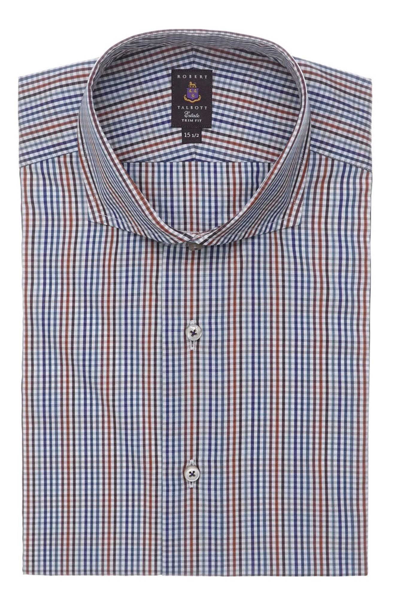 Tailored Fit Check Dress Shirt,                         Main,                         color, Blue Multi