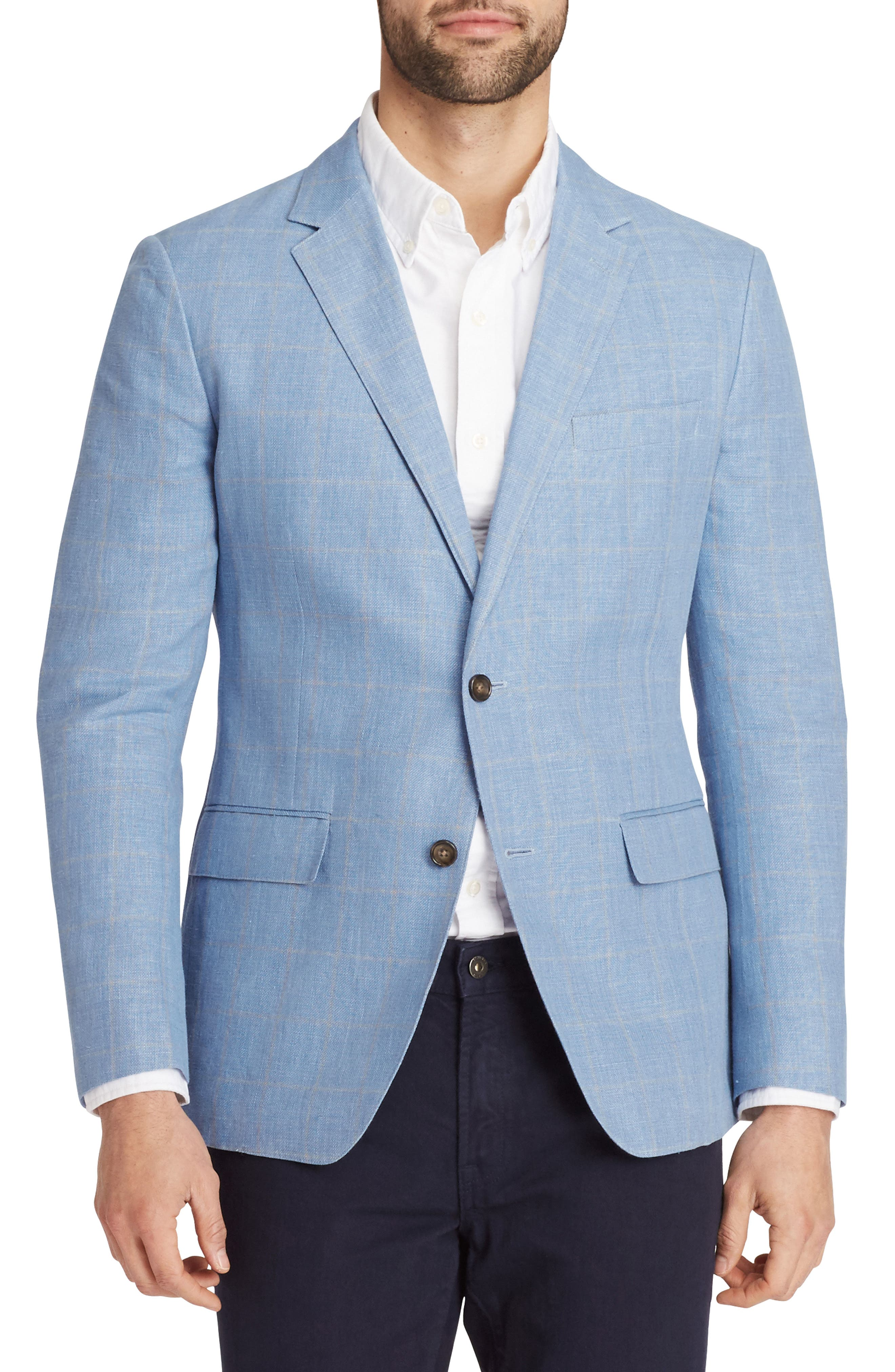 Slim Fit Cotton & Linen Unconstructed Blazer,                         Main,                         color, Light Blue Windowpane