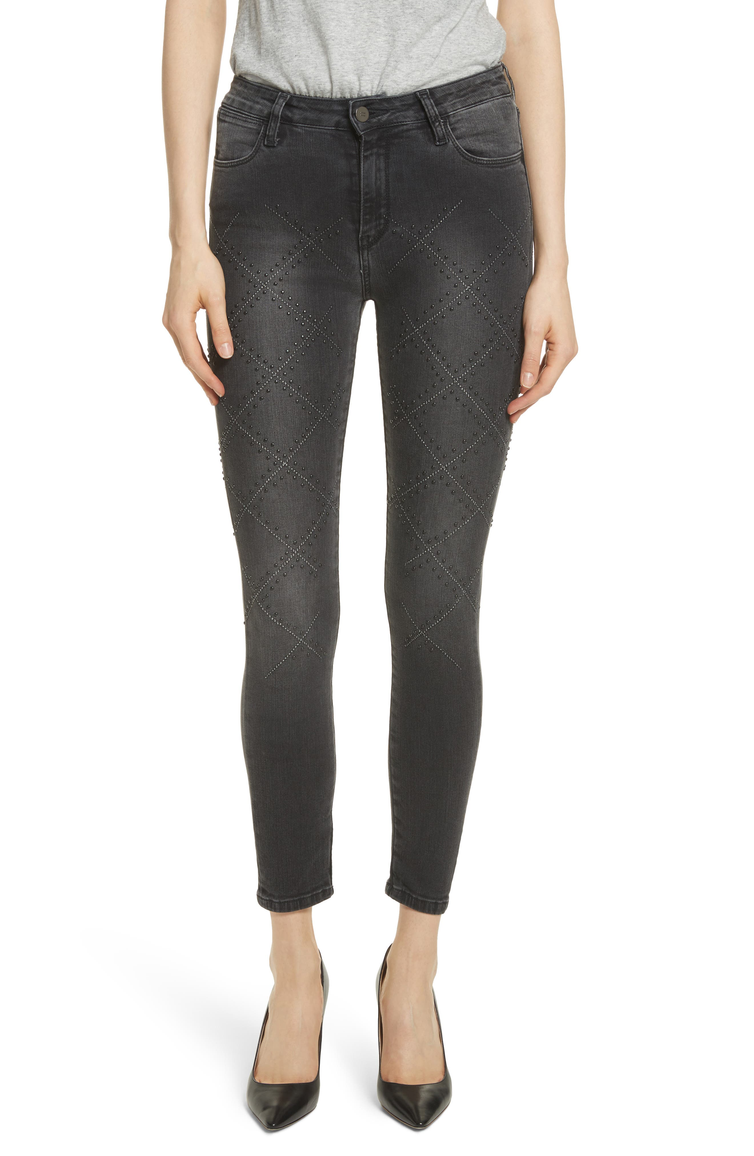 Reina Stud Skinny Jeans,                             Main thumbnail 1, color,                             Black Used