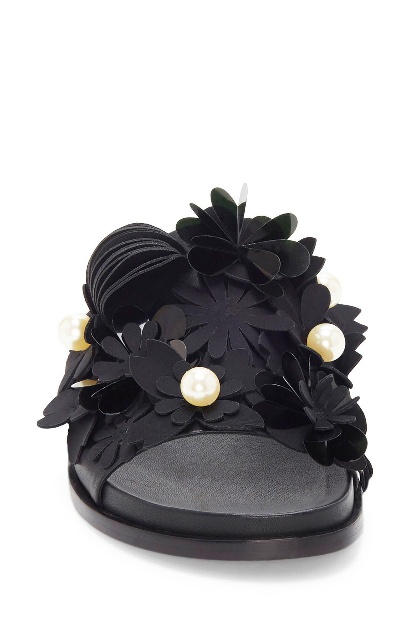Alyse Flowered Slide Sandal,                             Alternate thumbnail 3, color,                             Black
