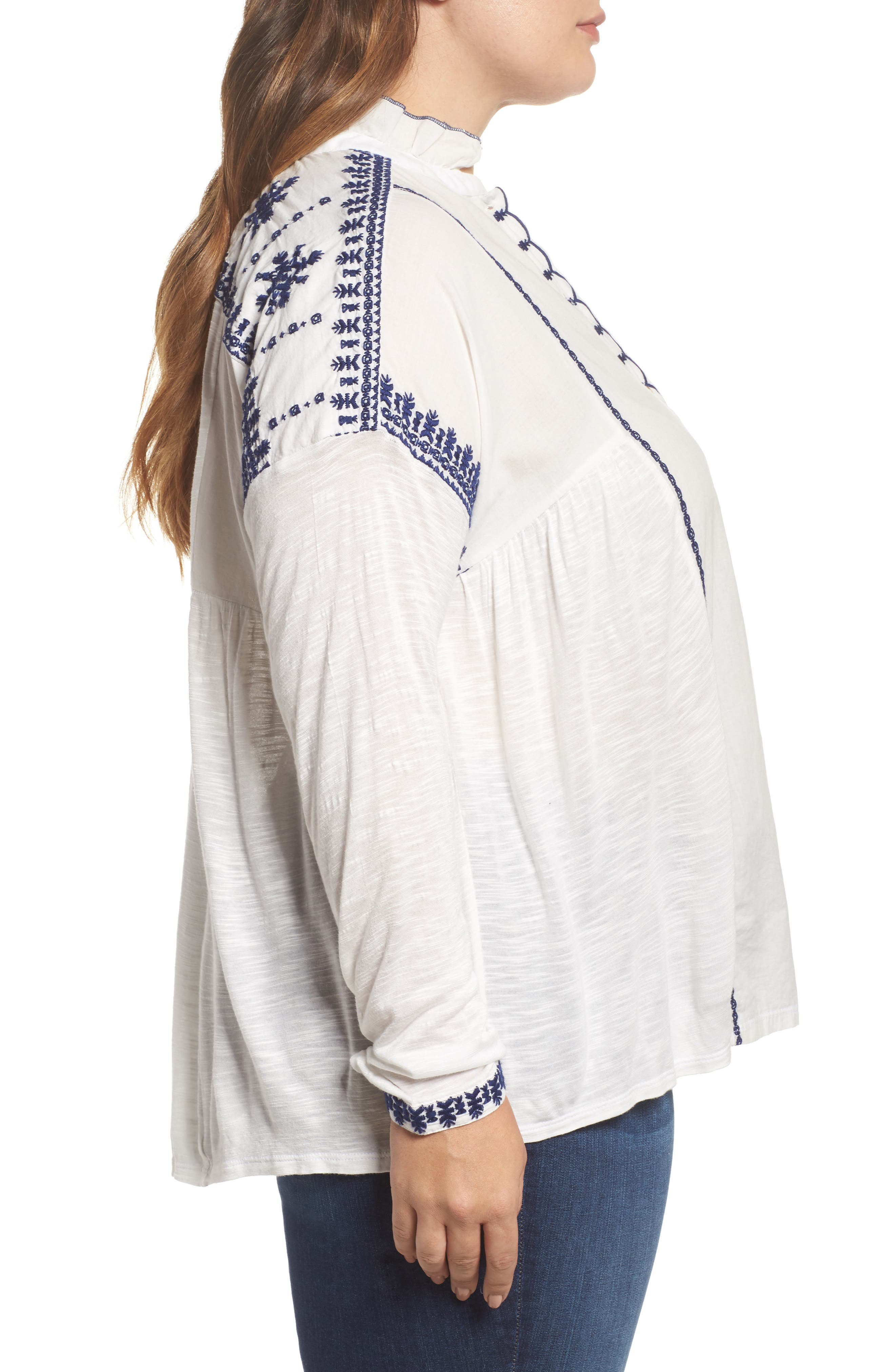Alternate Image 3  - Lucky Brand Embroidered Mixed Media Top (Plus Size)