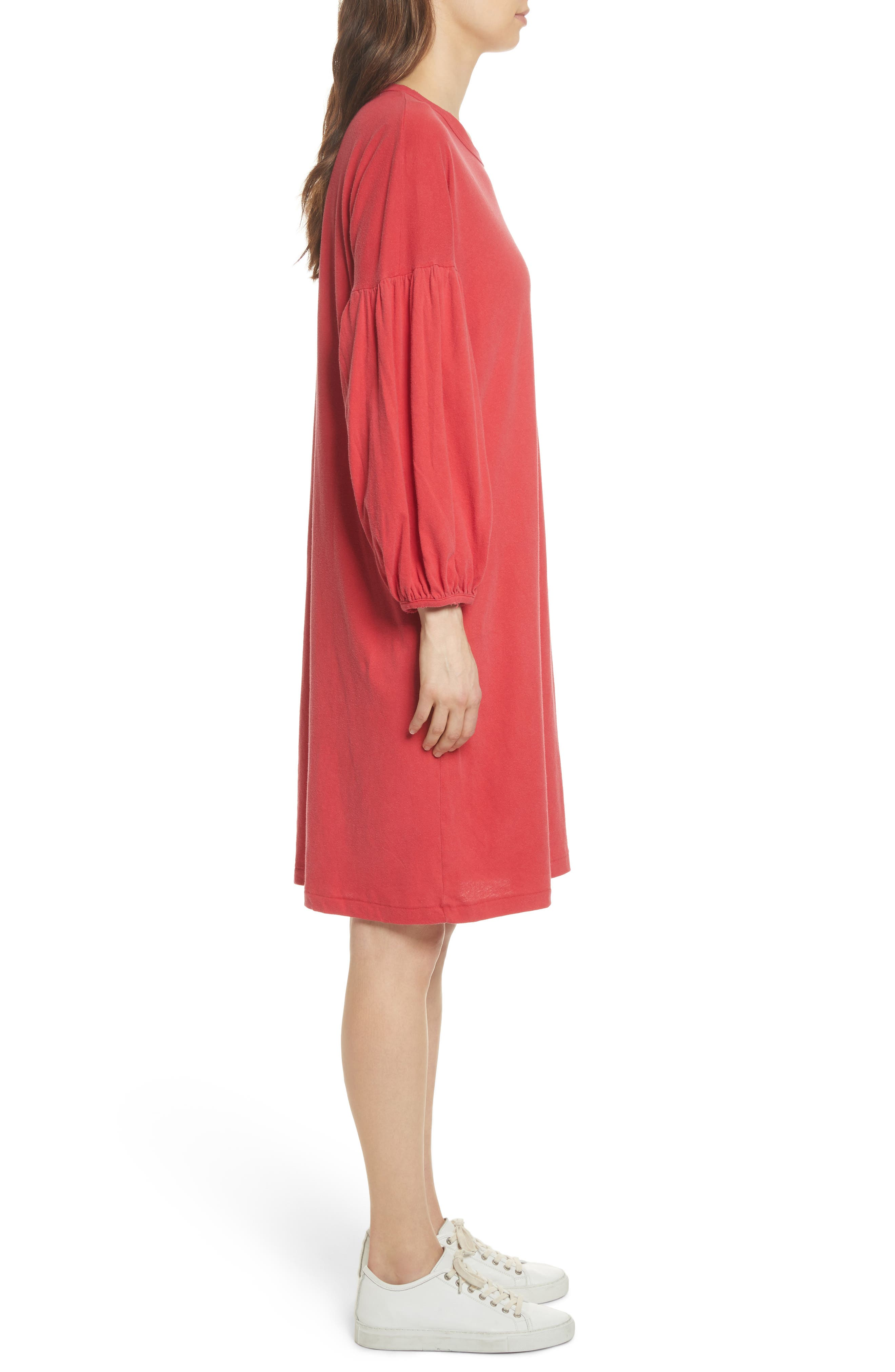 The Bubble Sleeve Dress,                             Alternate thumbnail 3, color,                             Cherry Red