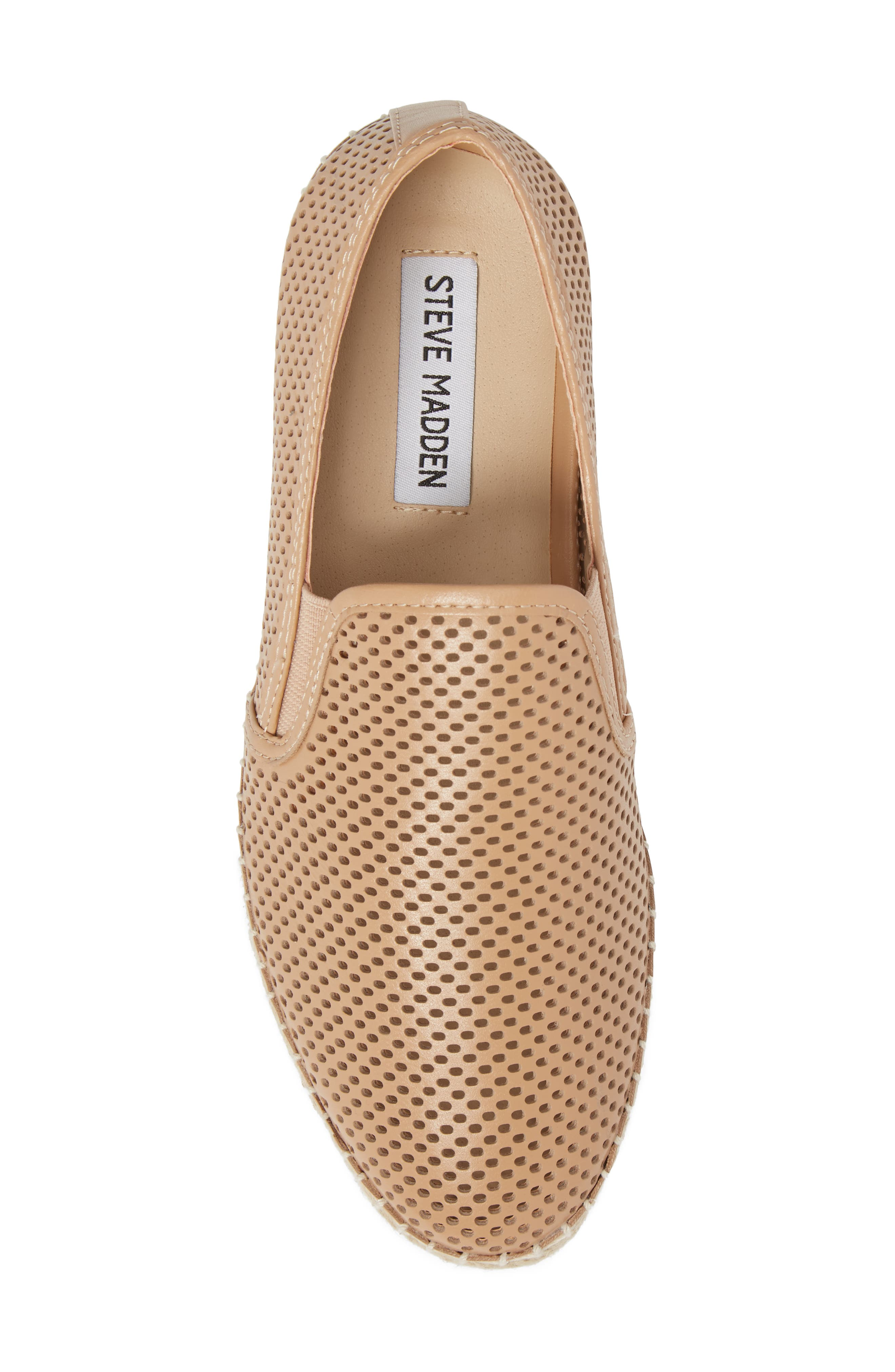 Wright Perforated Platform Espadrille,                             Alternate thumbnail 5, color,                             Natural Leather