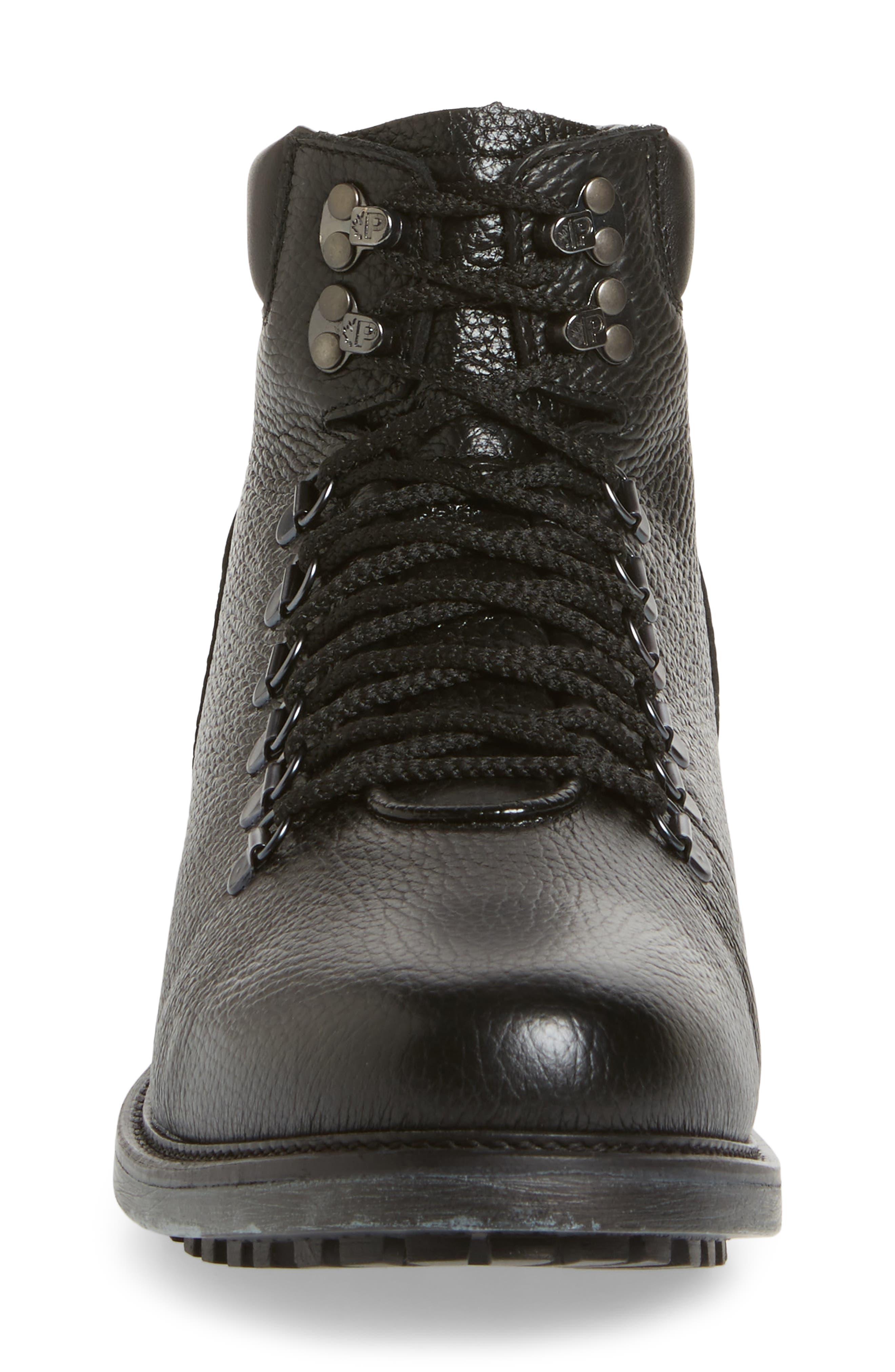 Venice Genuine Shearling Lined Plain Toe Boot,                             Alternate thumbnail 4, color,                             Black Leather