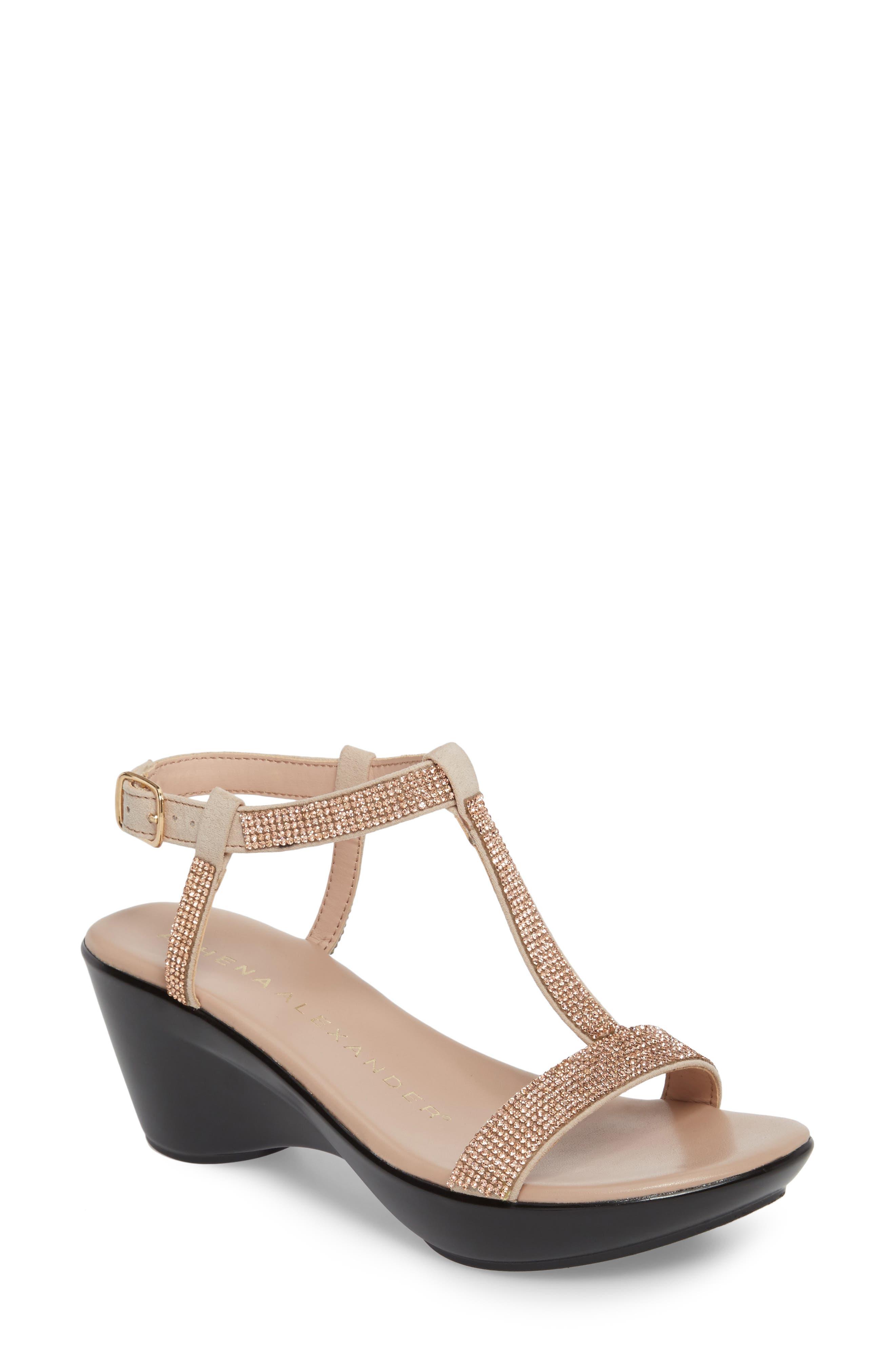 Athena Alexandar Karinya Embellished Strappy Wedge Sandal (Women)