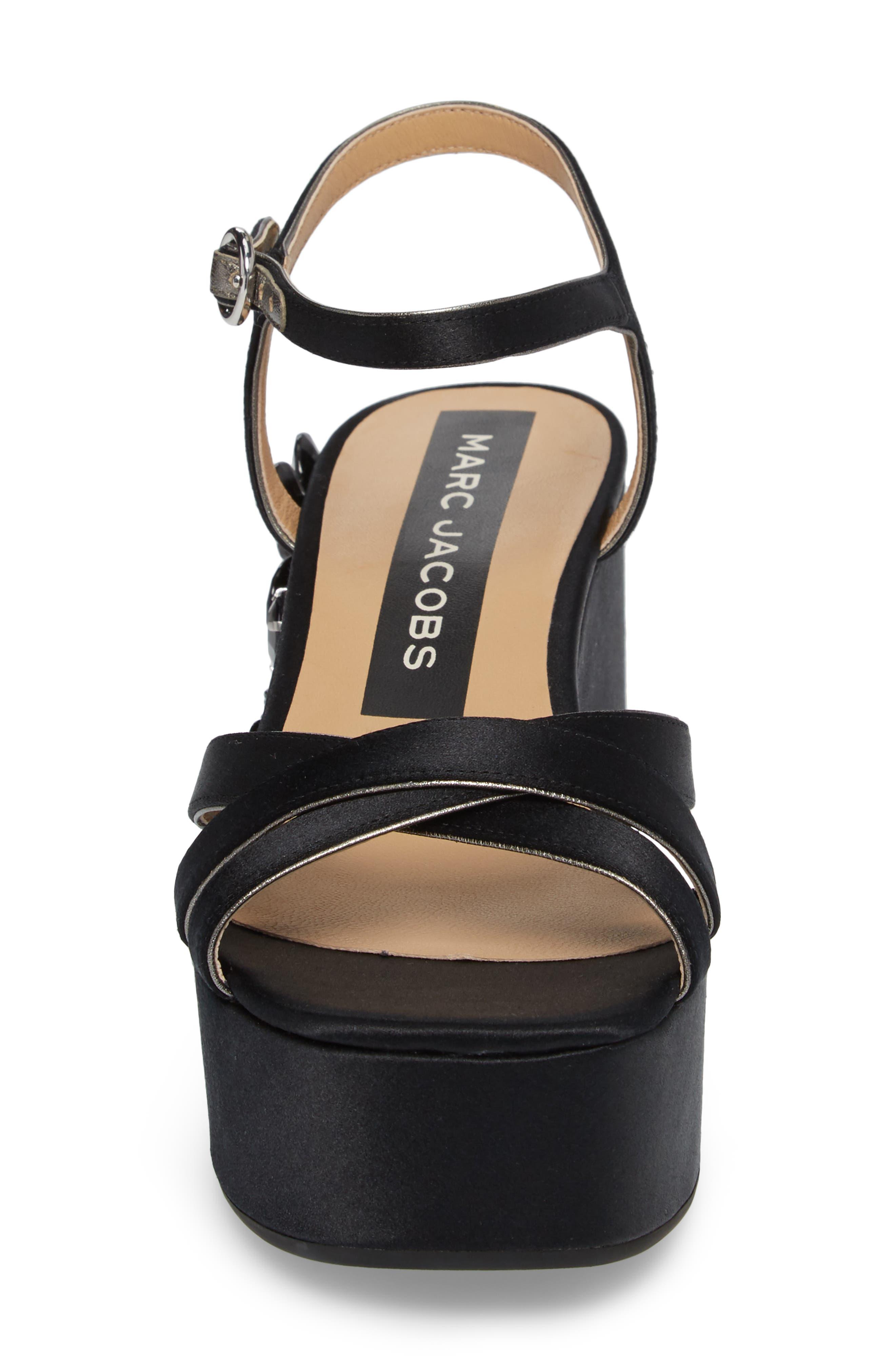 Callie Embellished Platform Sandal,                             Alternate thumbnail 4, color,                             Black