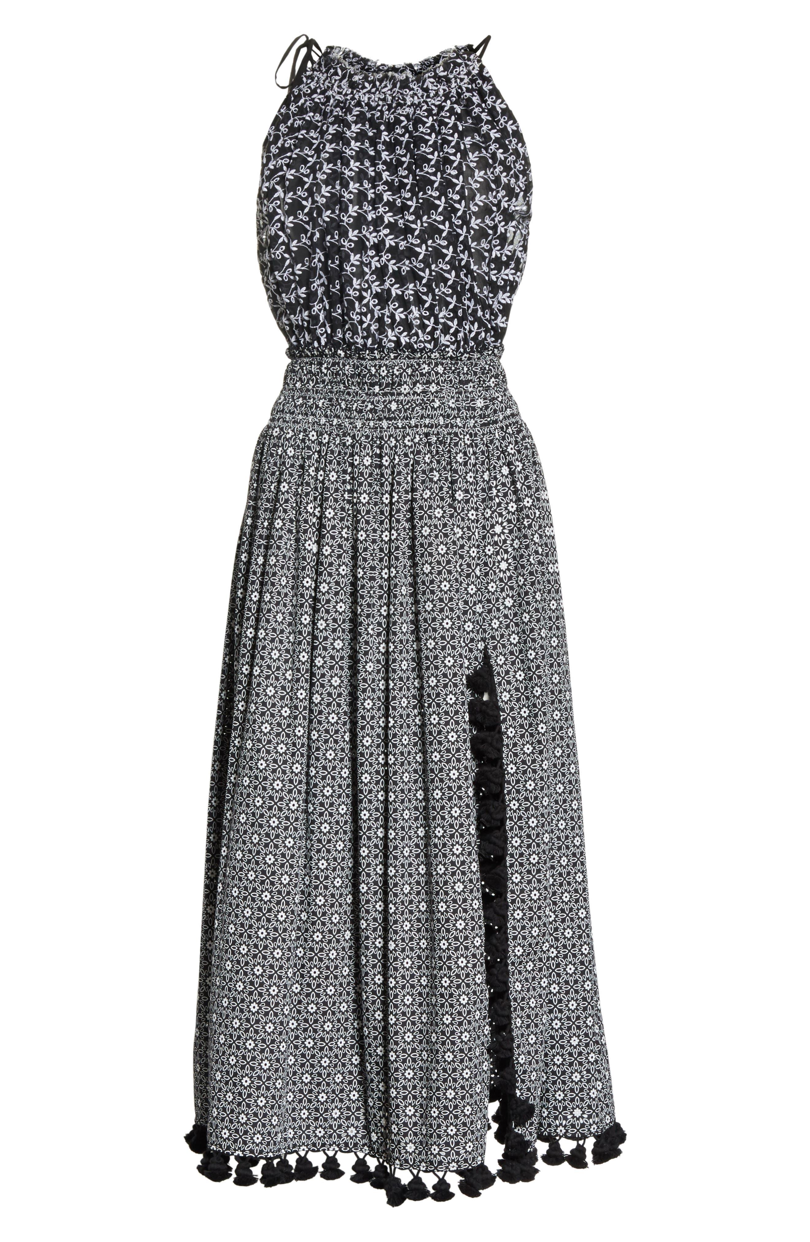Pompom Trim Smock Waist Dress,                             Alternate thumbnail 8, color,                             Black
