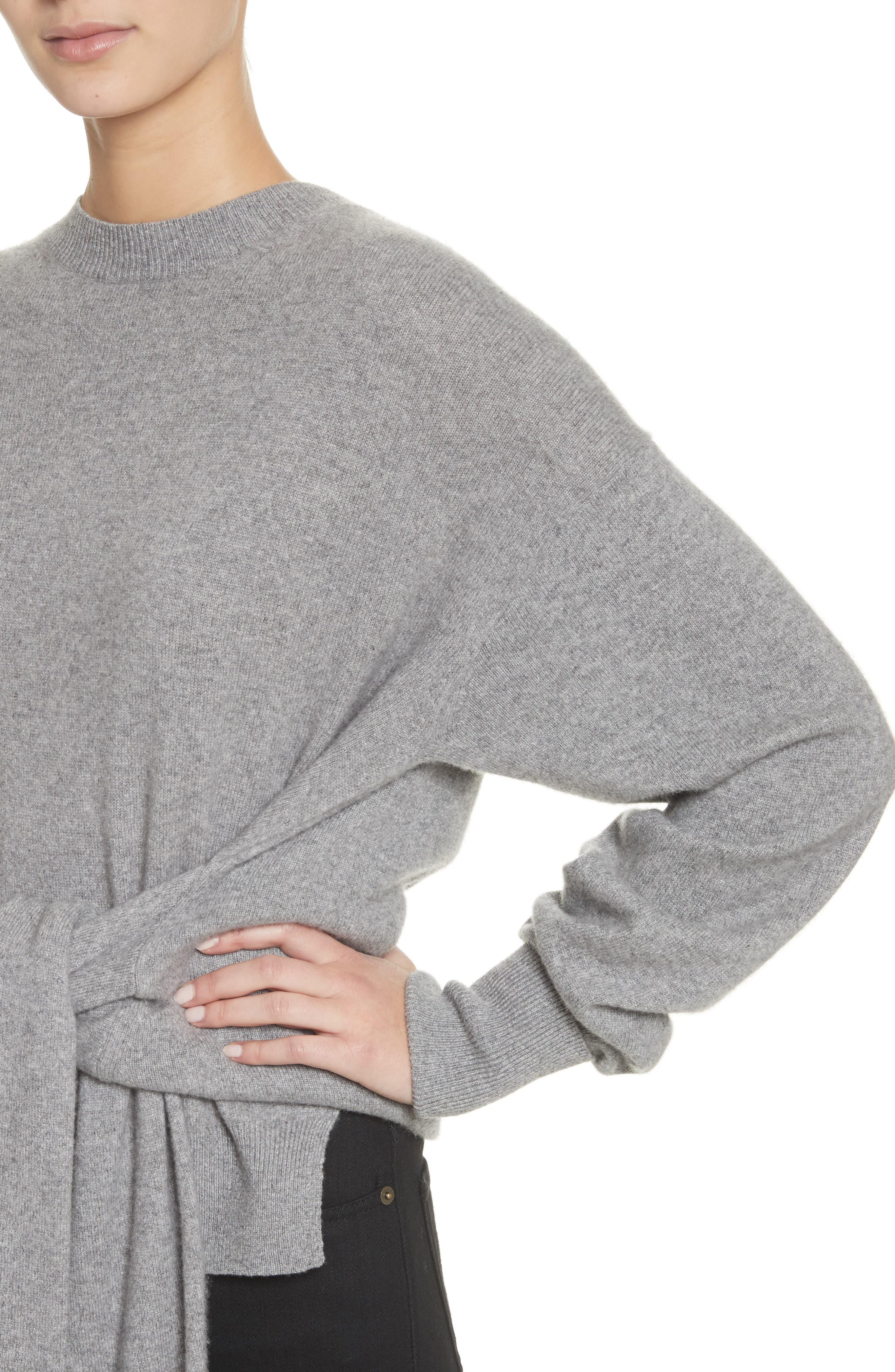 Inverted Tie Waist Wool & Cashmere Blend Sweater,                             Alternate thumbnail 4, color,                             Heather Grey