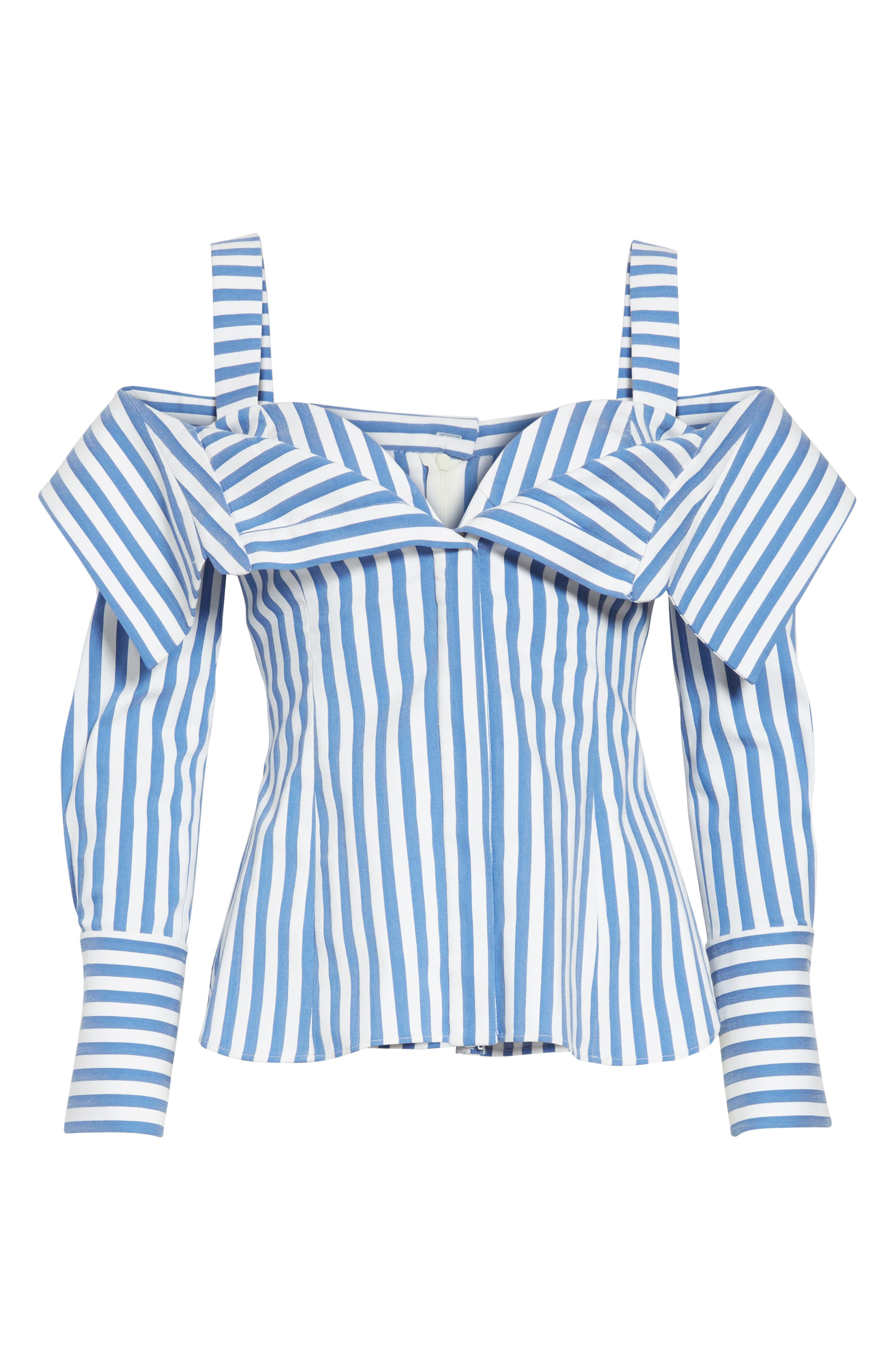 Stripe Poplin Cold Shoulder Top,                             Alternate thumbnail 7, color,                             Blue/ White