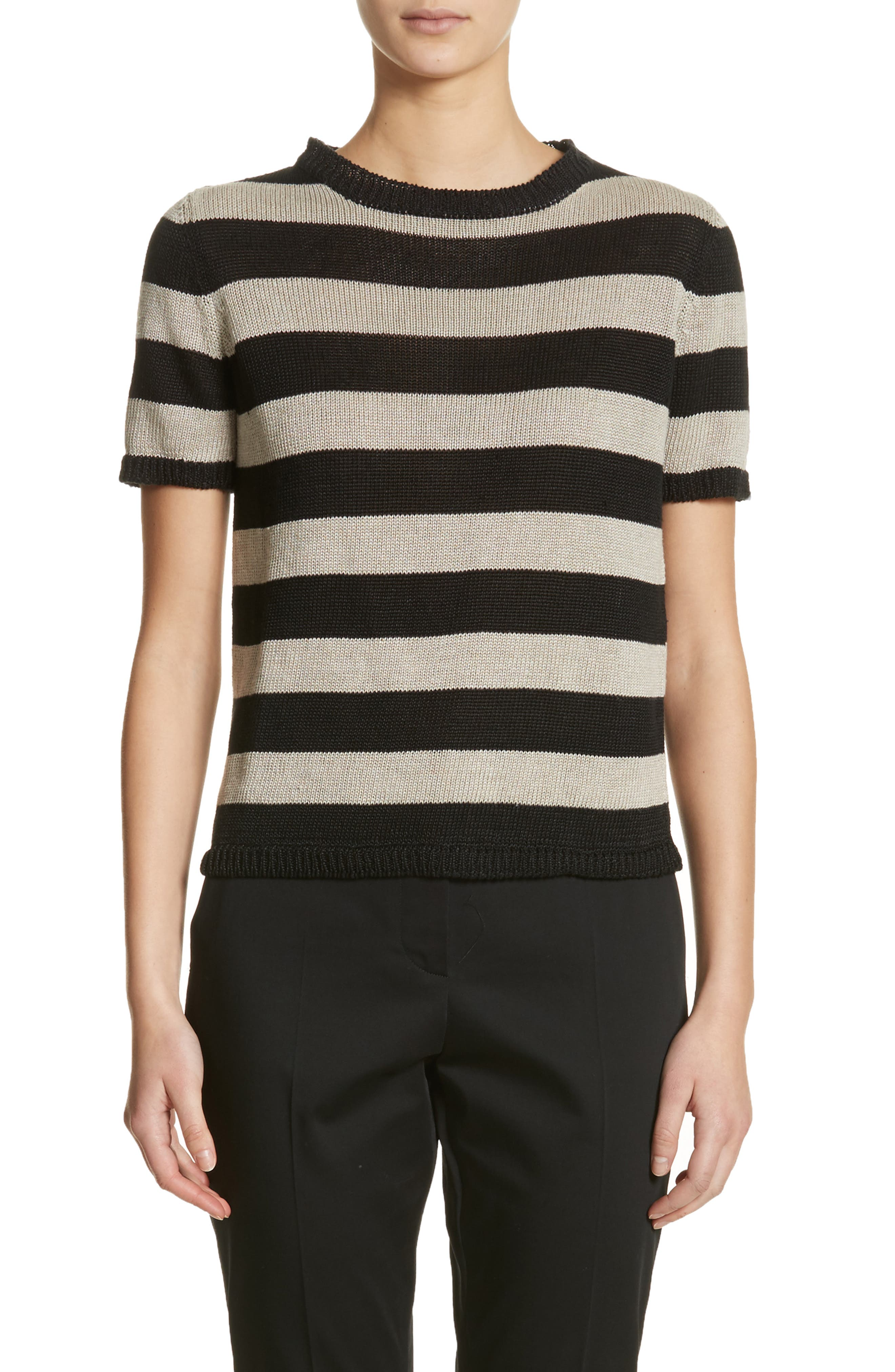 Filly Stripe Linen Sweater,                             Main thumbnail 1, color,                             Sand