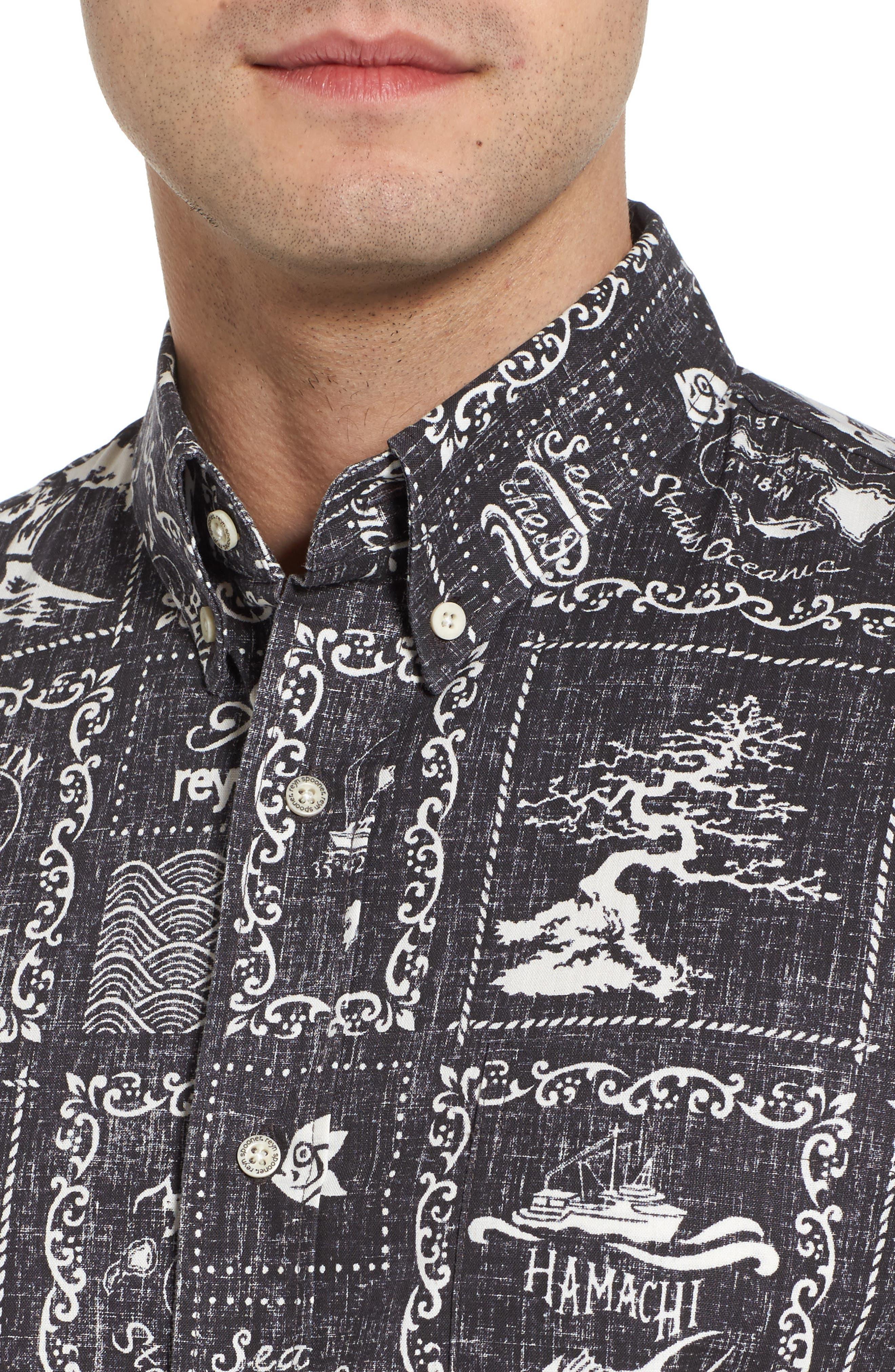 Stories from the East Regular Fit Sport Shirt,                             Alternate thumbnail 4, color,                             Black