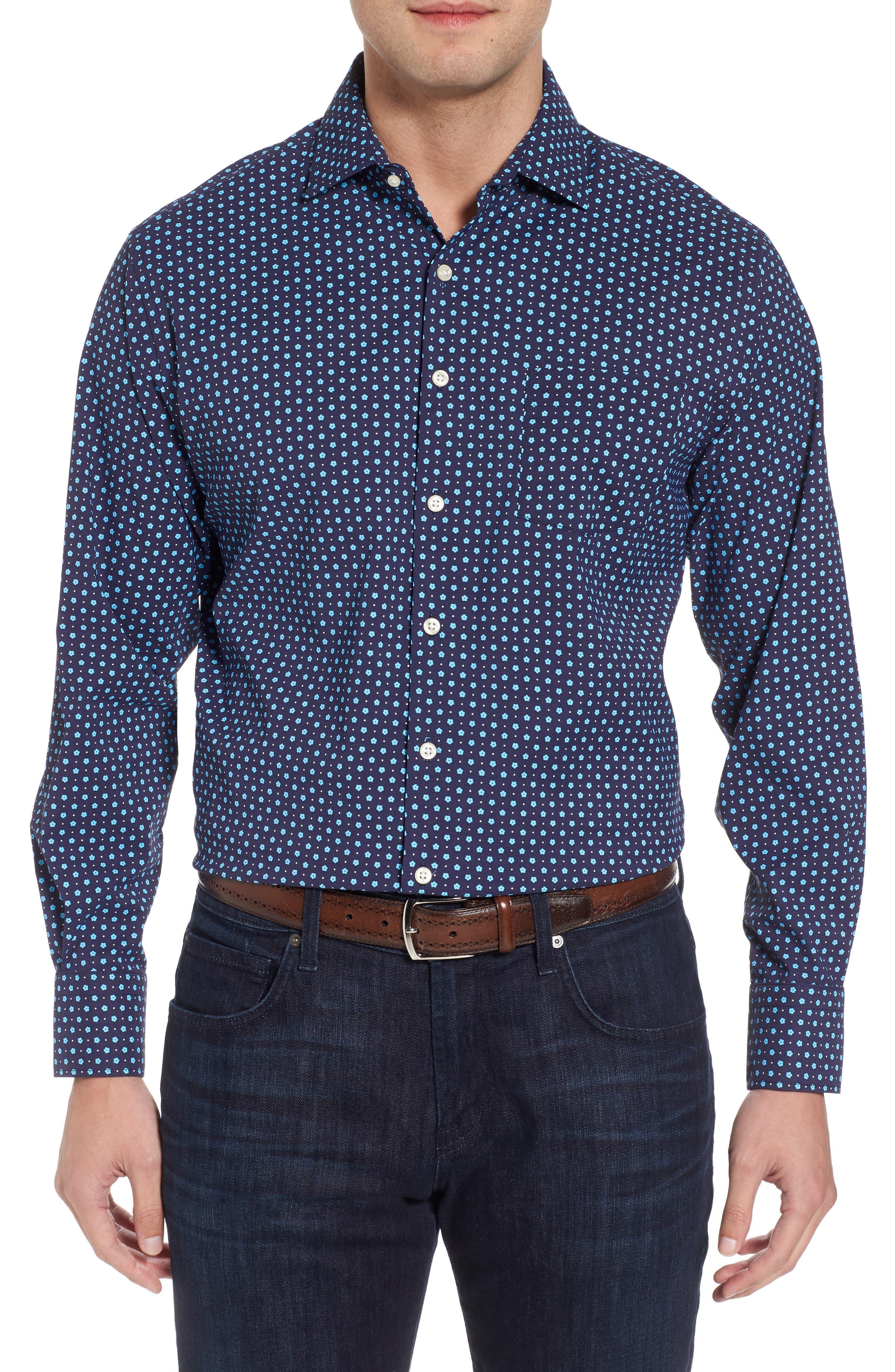 Jennings Regular Fit Floral Dot Performance Sport Shirt,                         Main,                         color, Yankee Blue