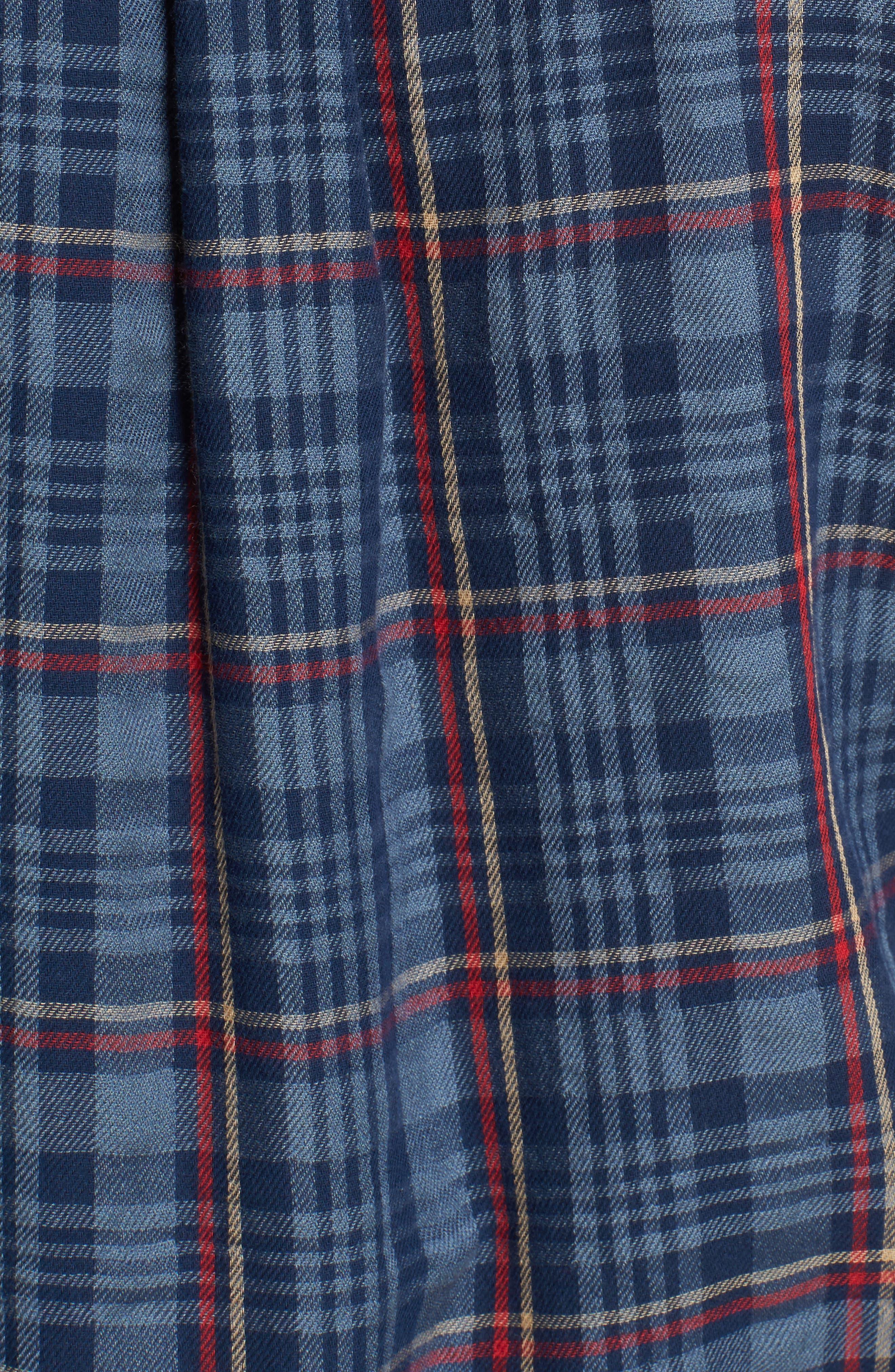 Alton Double Cloth Plaid Sport Shirt,                             Alternate thumbnail 5, color,                             Navy Grey Plaid