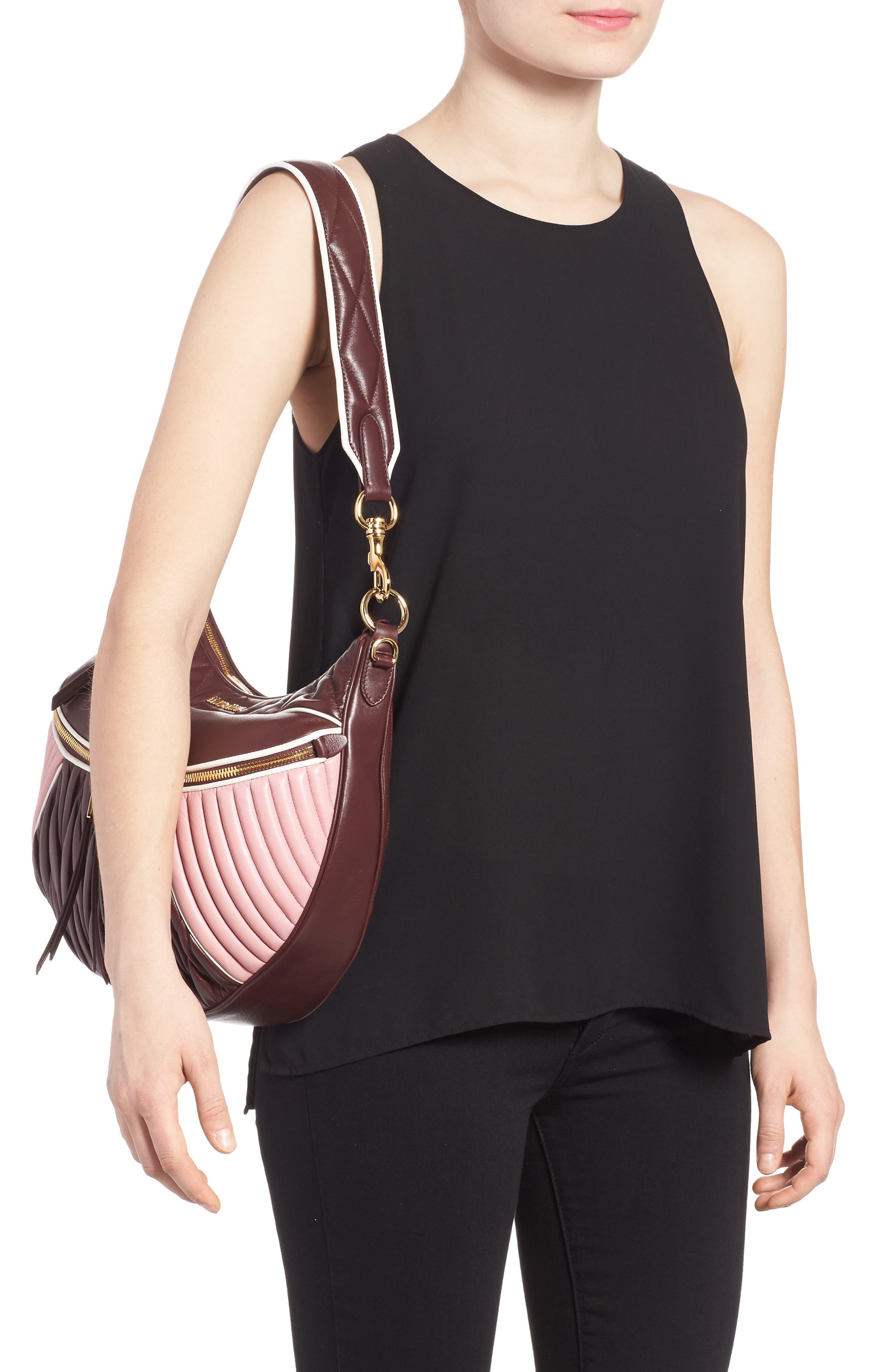 Large Rider Matelassé Leather Shoulder Bag,                             Alternate thumbnail 2, color,                             Granato/ Rosa