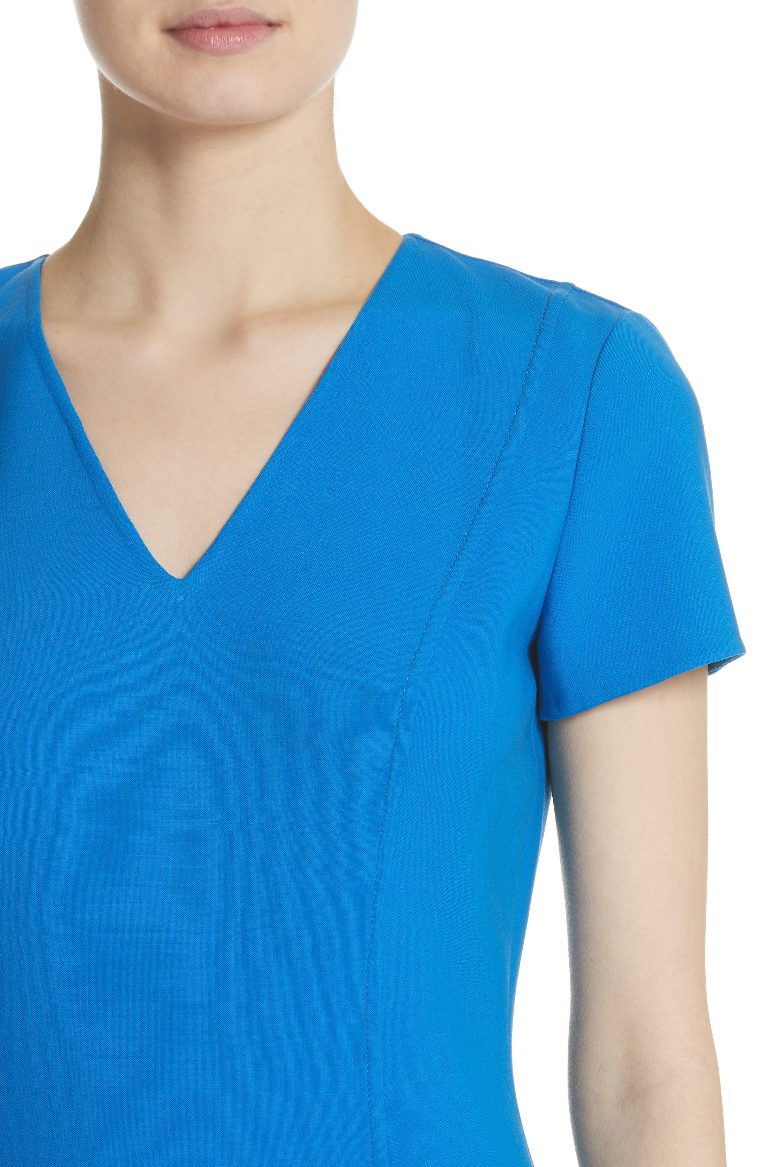 Flutter Hem Wool Blend Sheath Dress,                             Alternate thumbnail 4, color,                             Cobalt