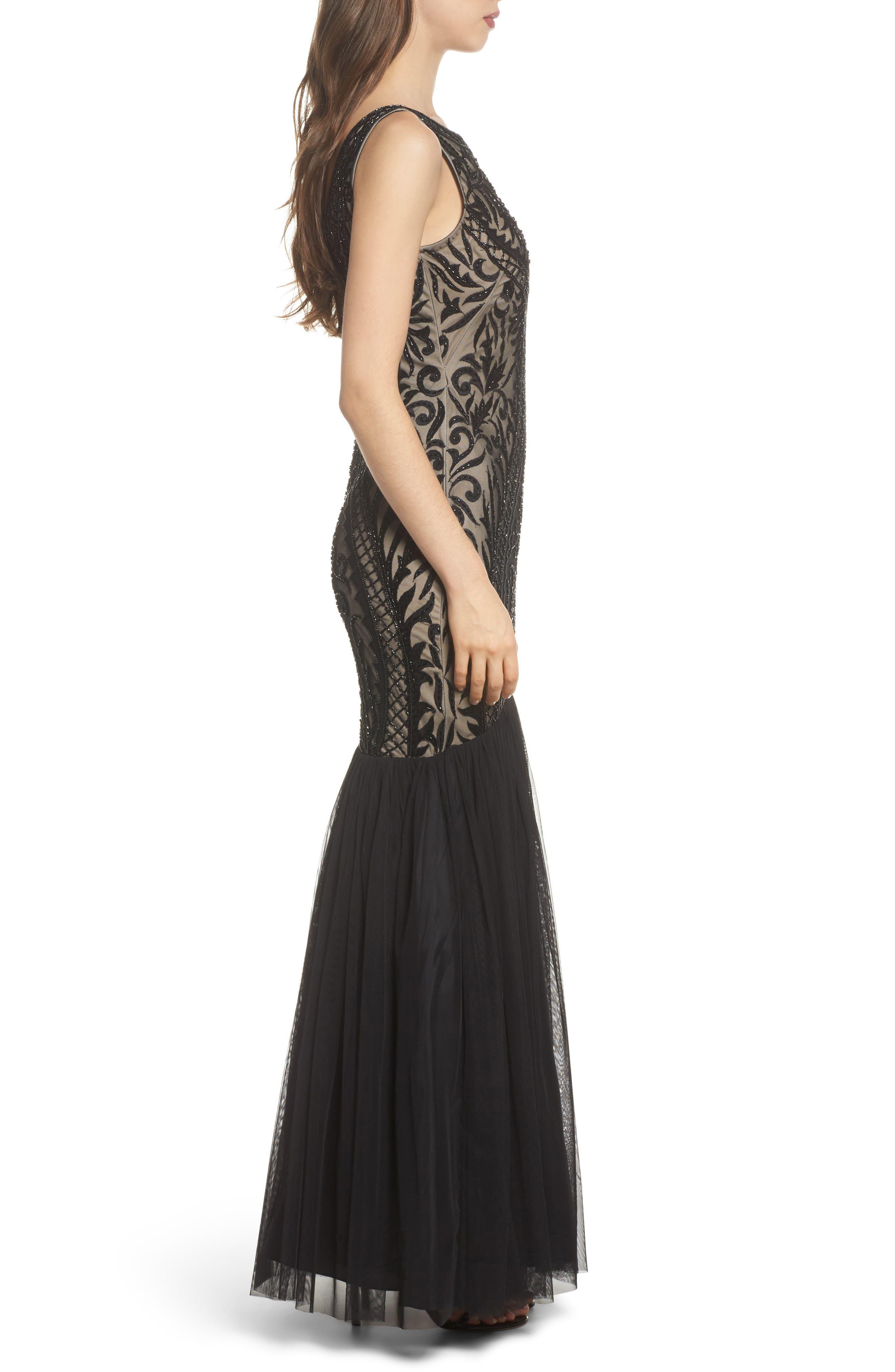 Embellished Mermaid Gown,                             Alternate thumbnail 3, color,                             Black Nude