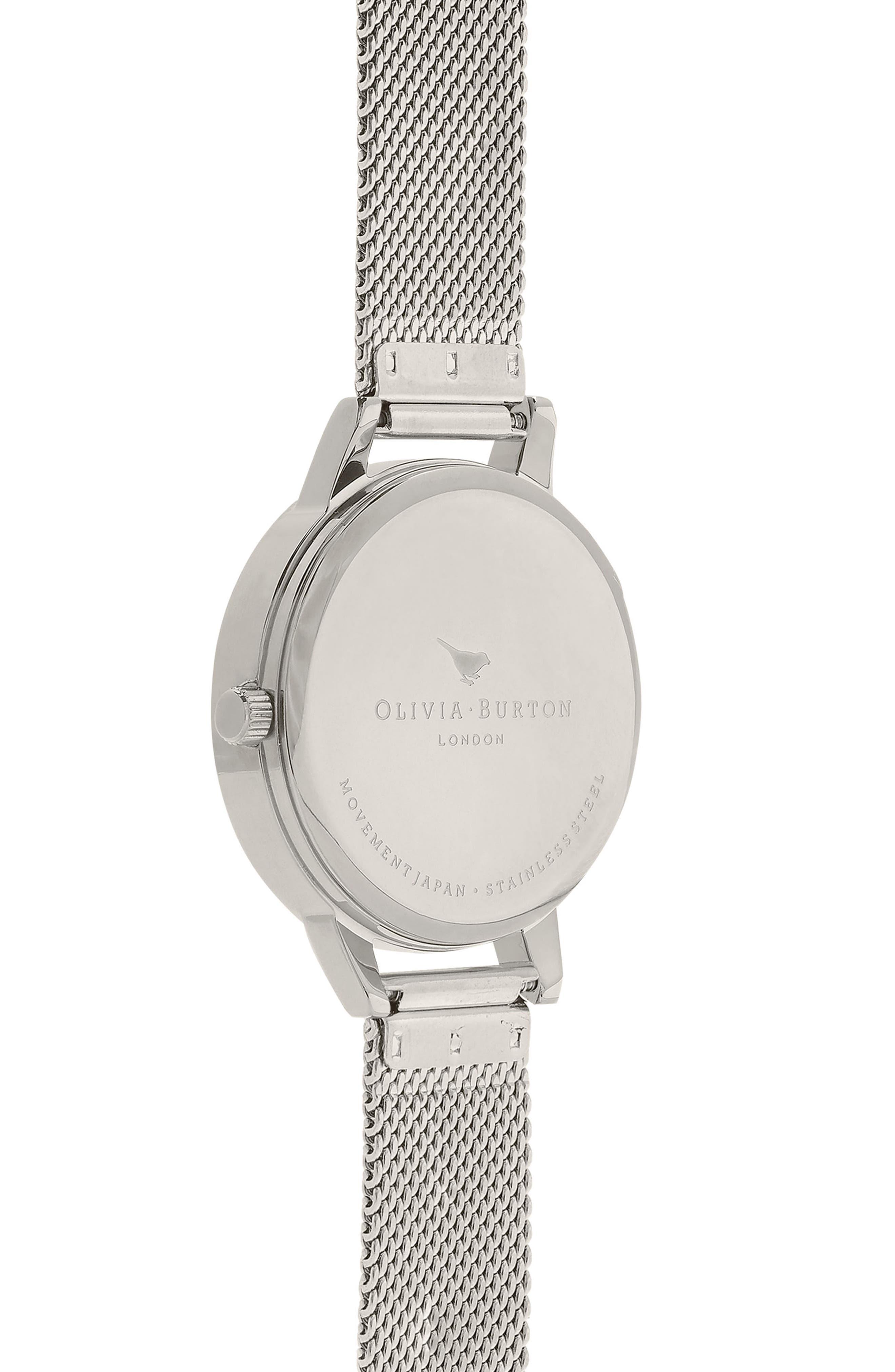3D Anemone Mesh Strap Watch, 30mm,                             Alternate thumbnail 3, color,                             Silver/ Black/ Silver