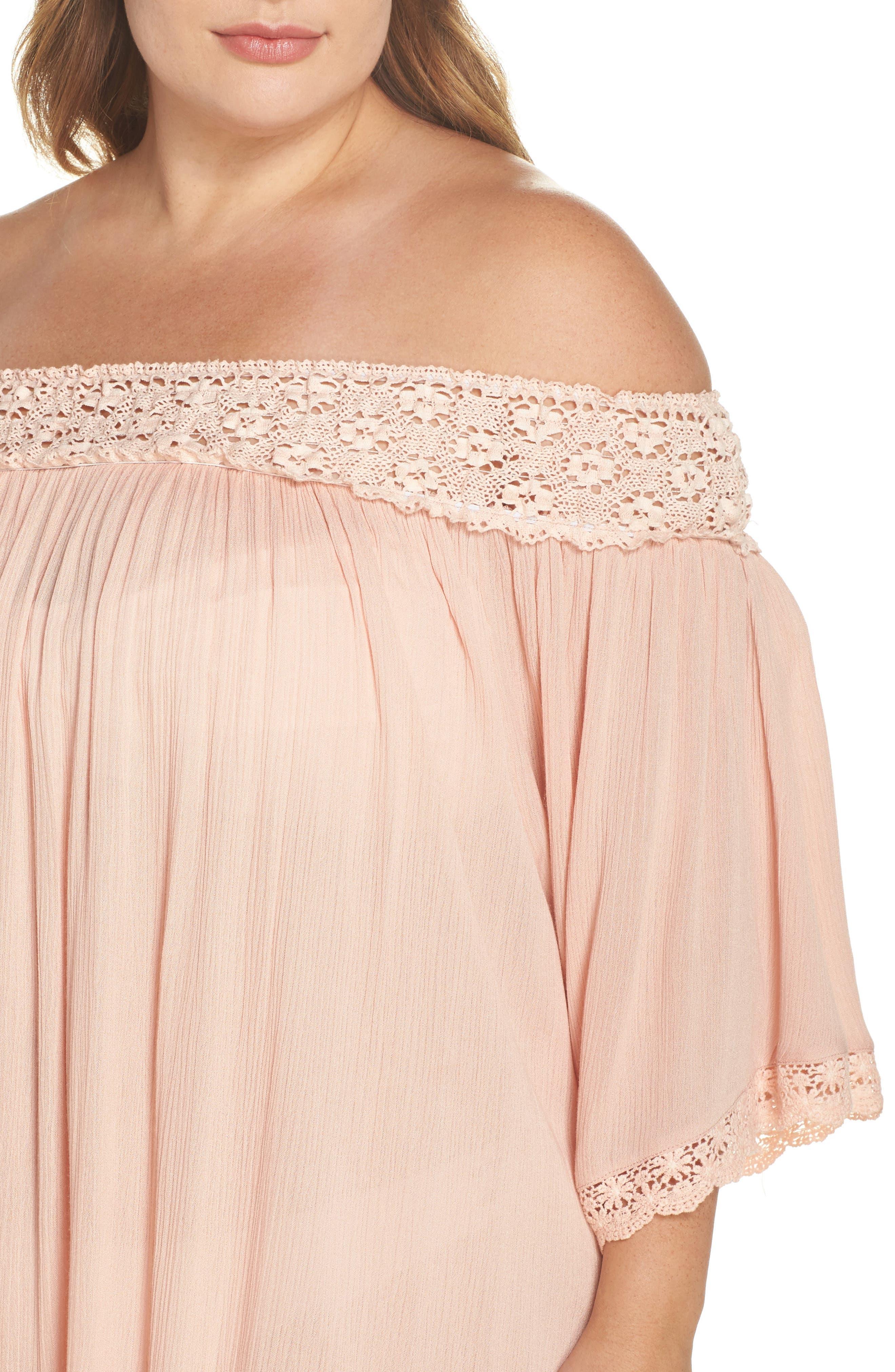 Rimini Crochet Cover-Up Dress,                             Alternate thumbnail 4, color,                             Pink