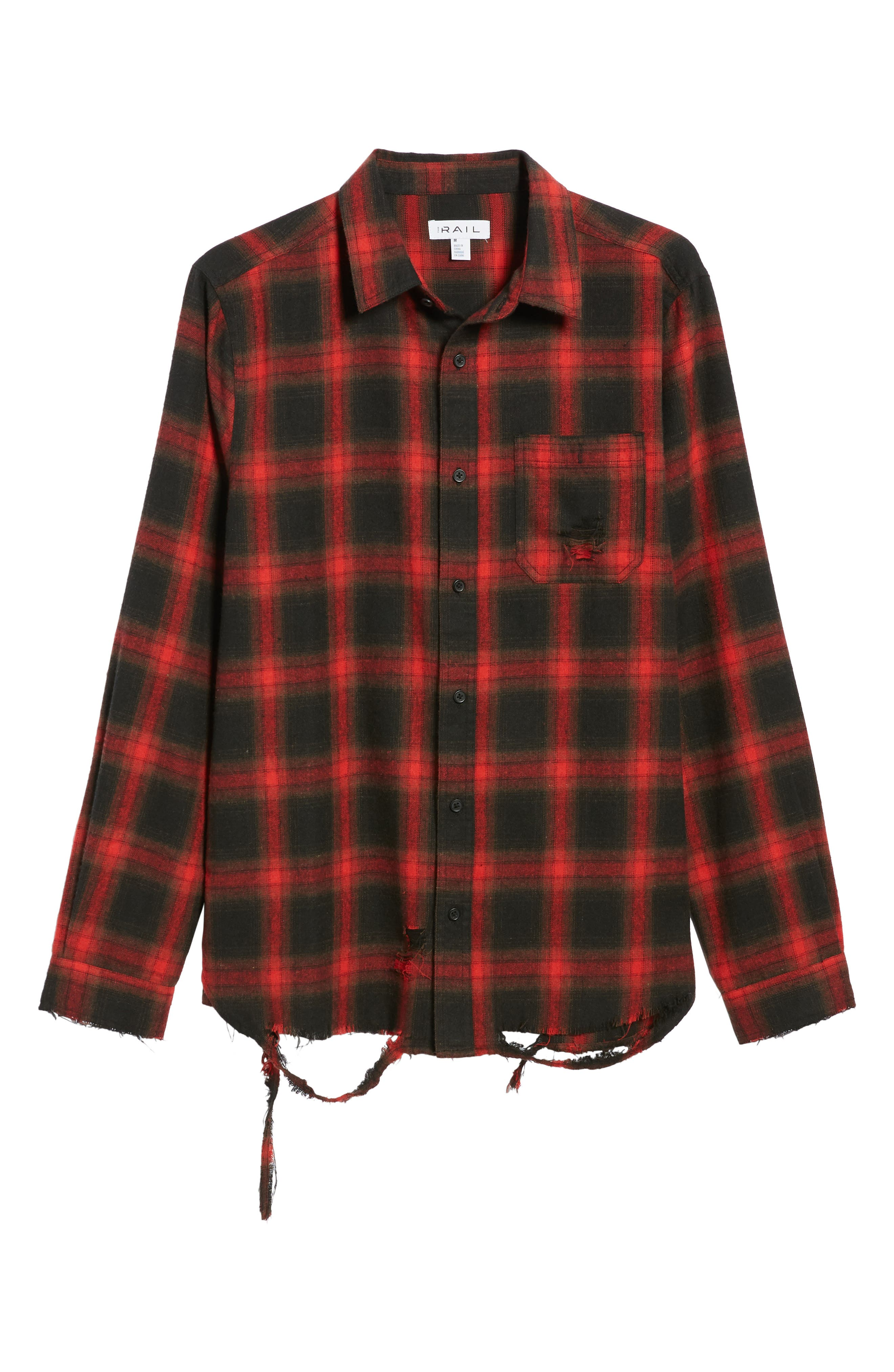 Shredded Plaid Flannel Shirt,                             Alternate thumbnail 6, color,                             Black Rock Red Ombre Check