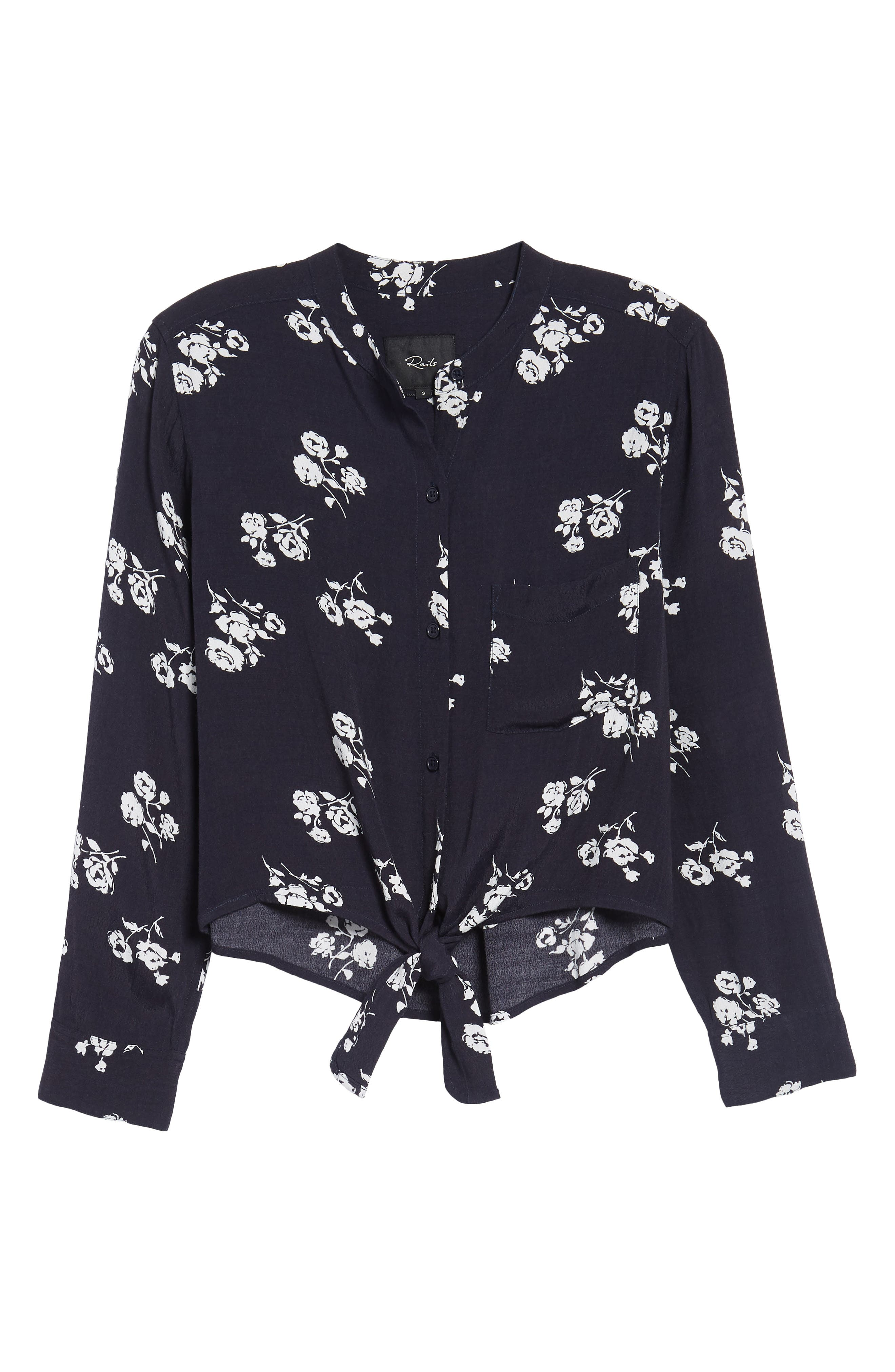 Rowena Tie Front Top,                             Alternate thumbnail 6, color,                             Navy White Floral