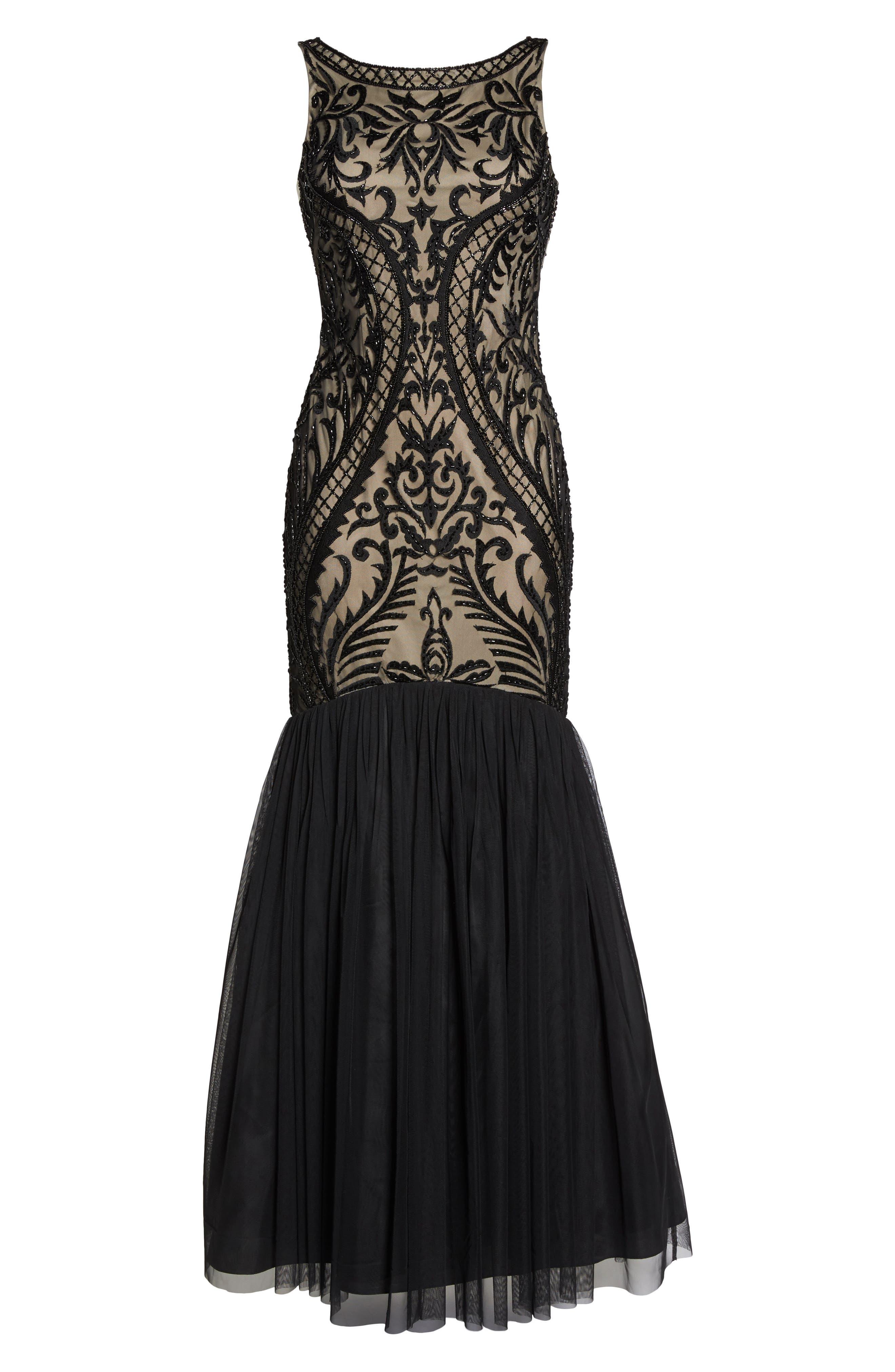 Embellished Mermaid Gown,                             Alternate thumbnail 6, color,                             Black Nude