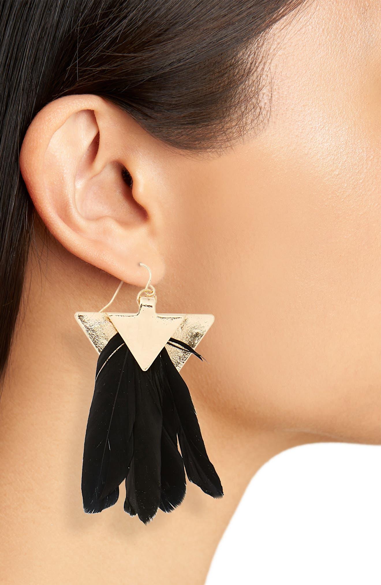 Feather Fan Earrings,                             Alternate thumbnail 2, color,                             Gold/ Black