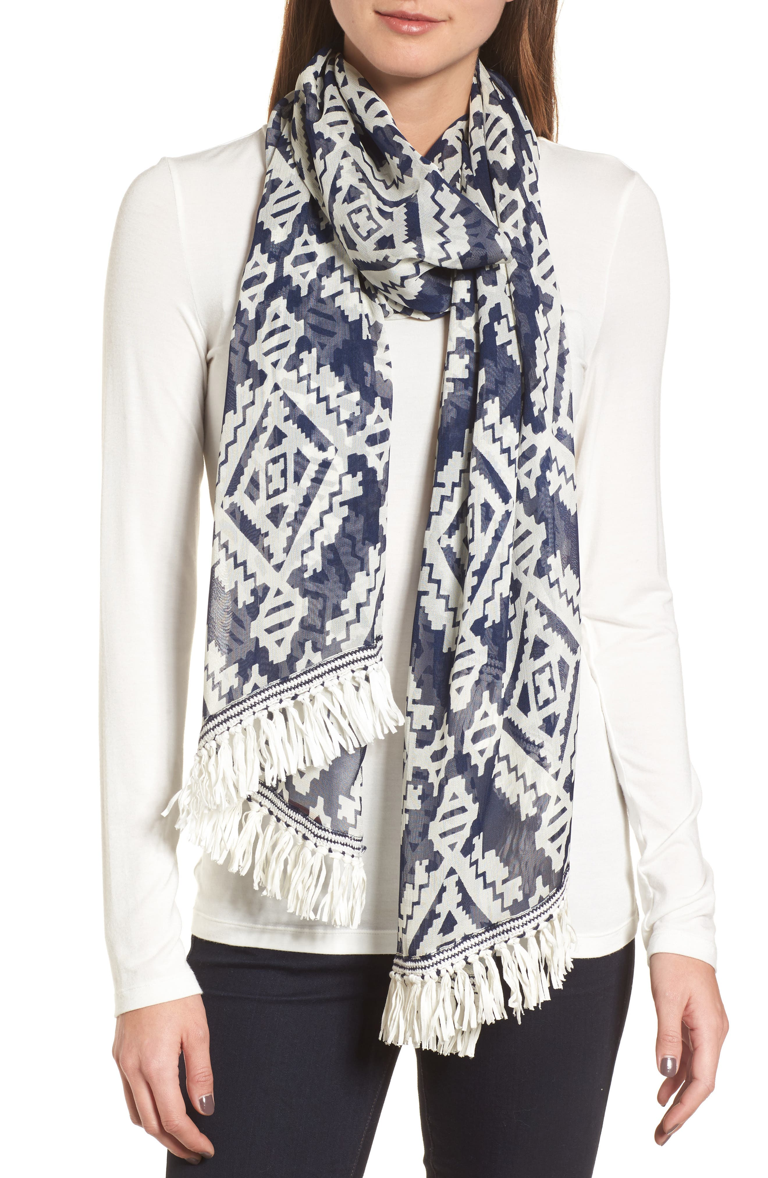Tapestry Geo Scarf,                             Main thumbnail 1, color,                             Tory Navy
