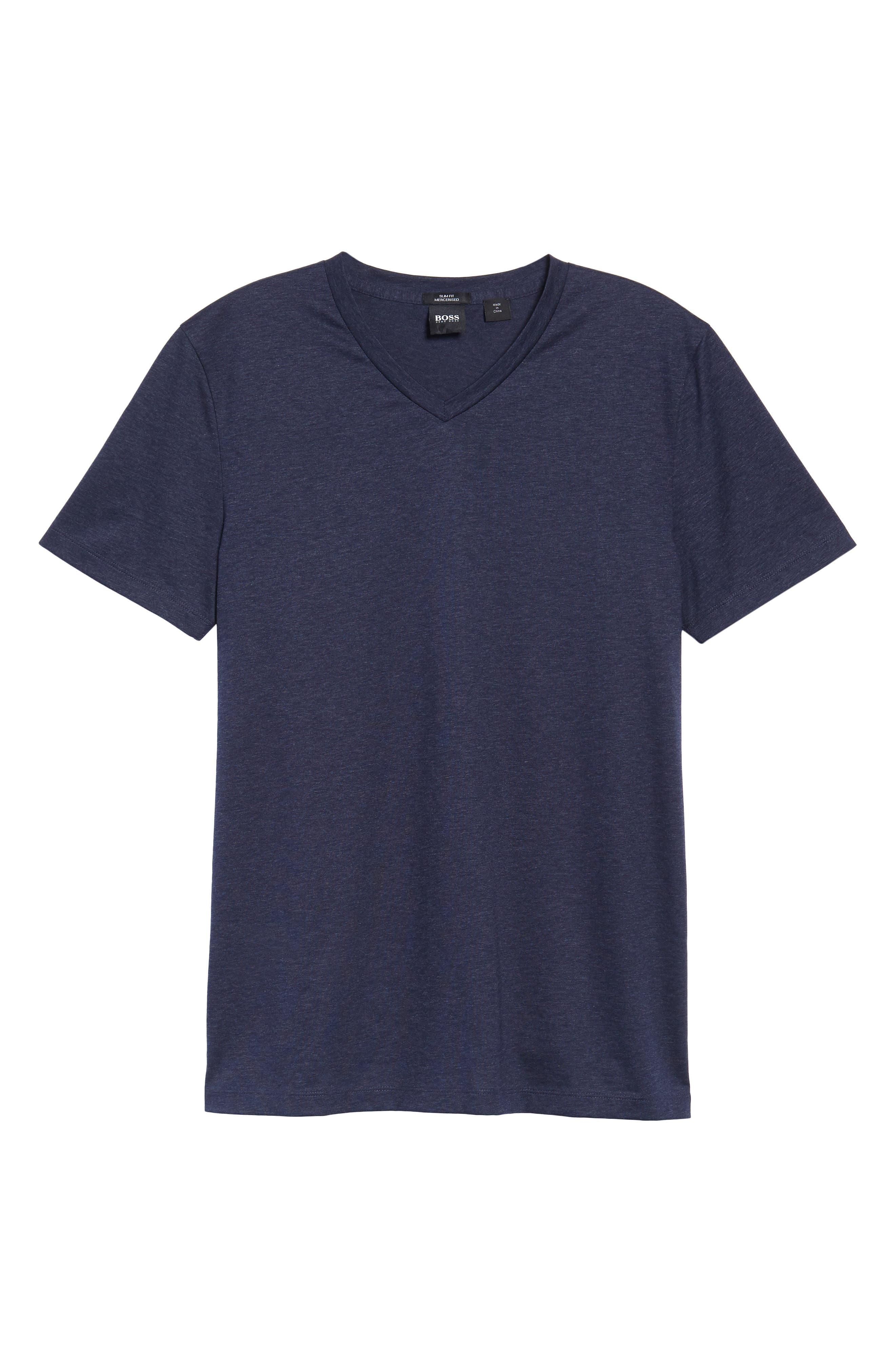 Teal Slim Fit V-Neck T-Shirt,                             Alternate thumbnail 6, color,                             Blue