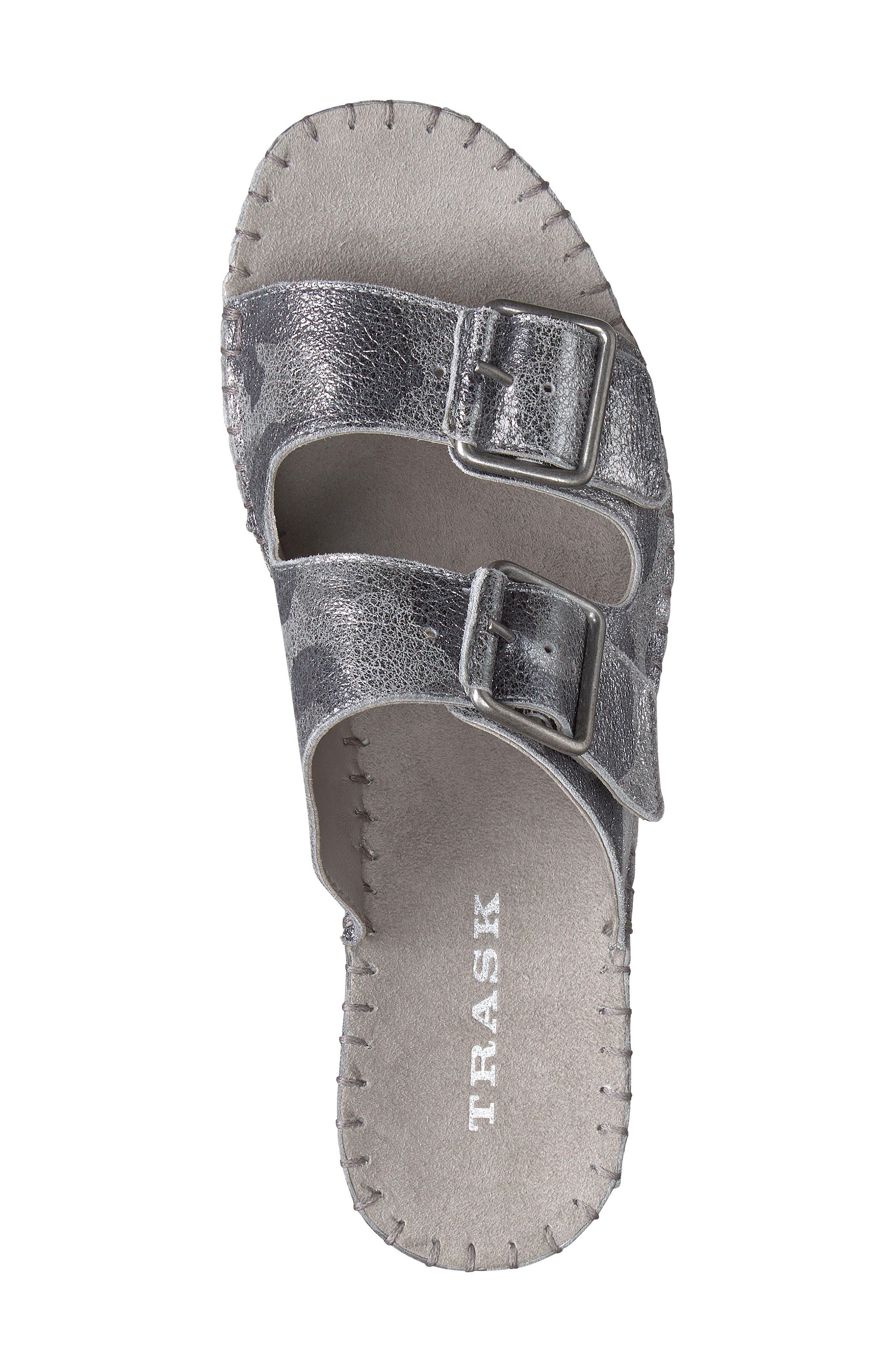 Carli Slide Sandal,                             Alternate thumbnail 6, color,                             Pewter Camo Metallic Suede