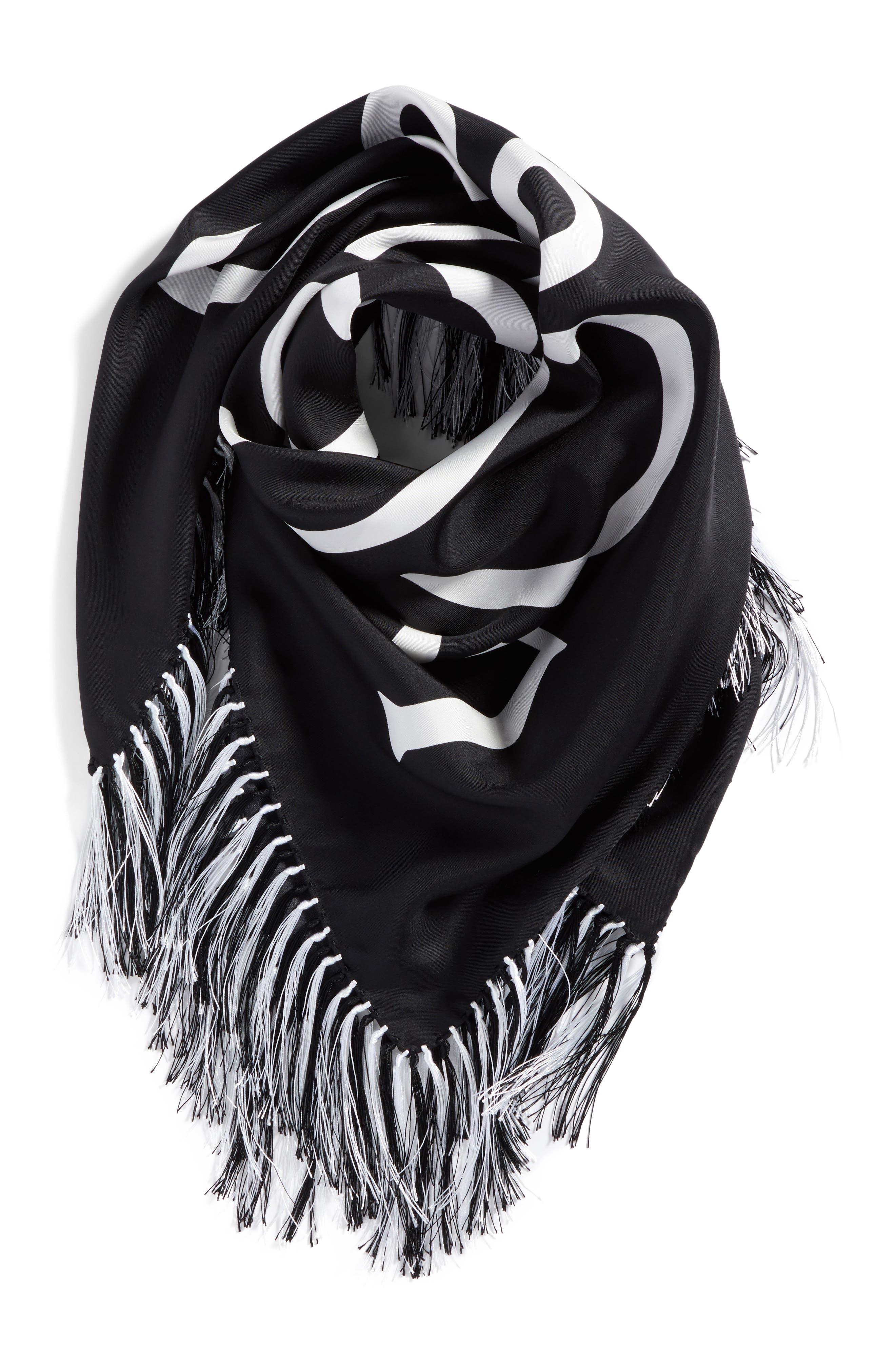 Anagram Silk Scarf,                             Alternate thumbnail 3, color,                             Black/ White