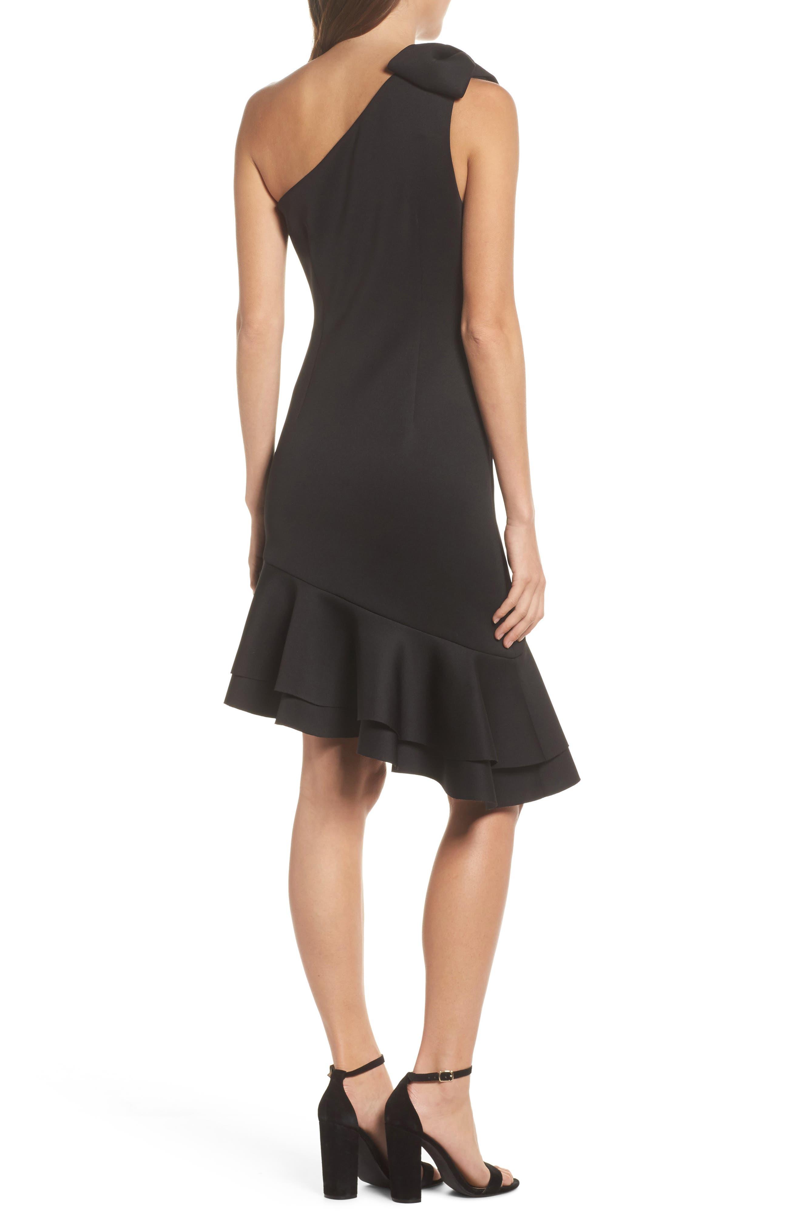 One-Shoulder Asymmetric Dress,                             Alternate thumbnail 2, color,                             Black
