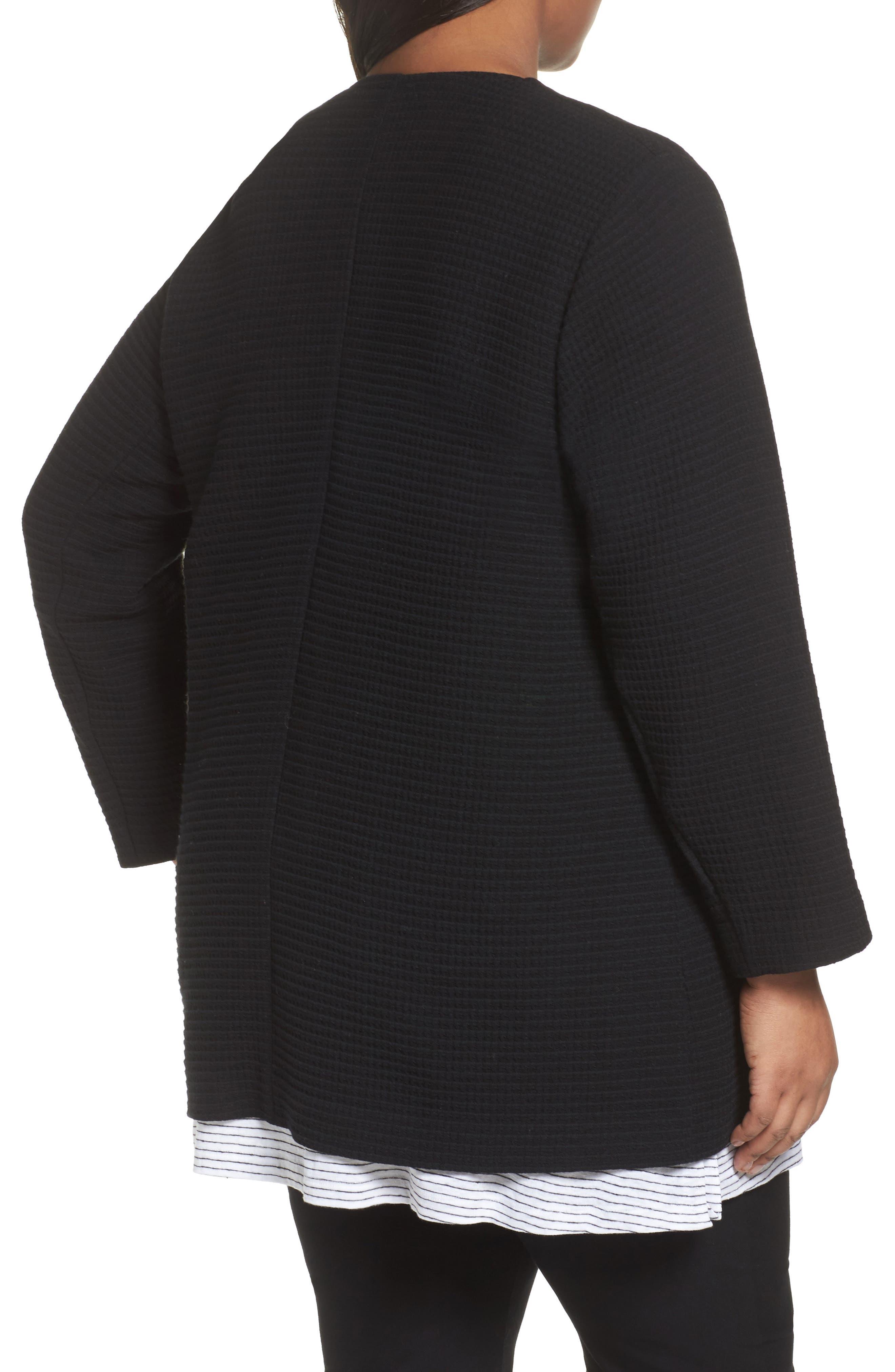 Long Jacquard Jacket,                             Alternate thumbnail 2, color,                             Black