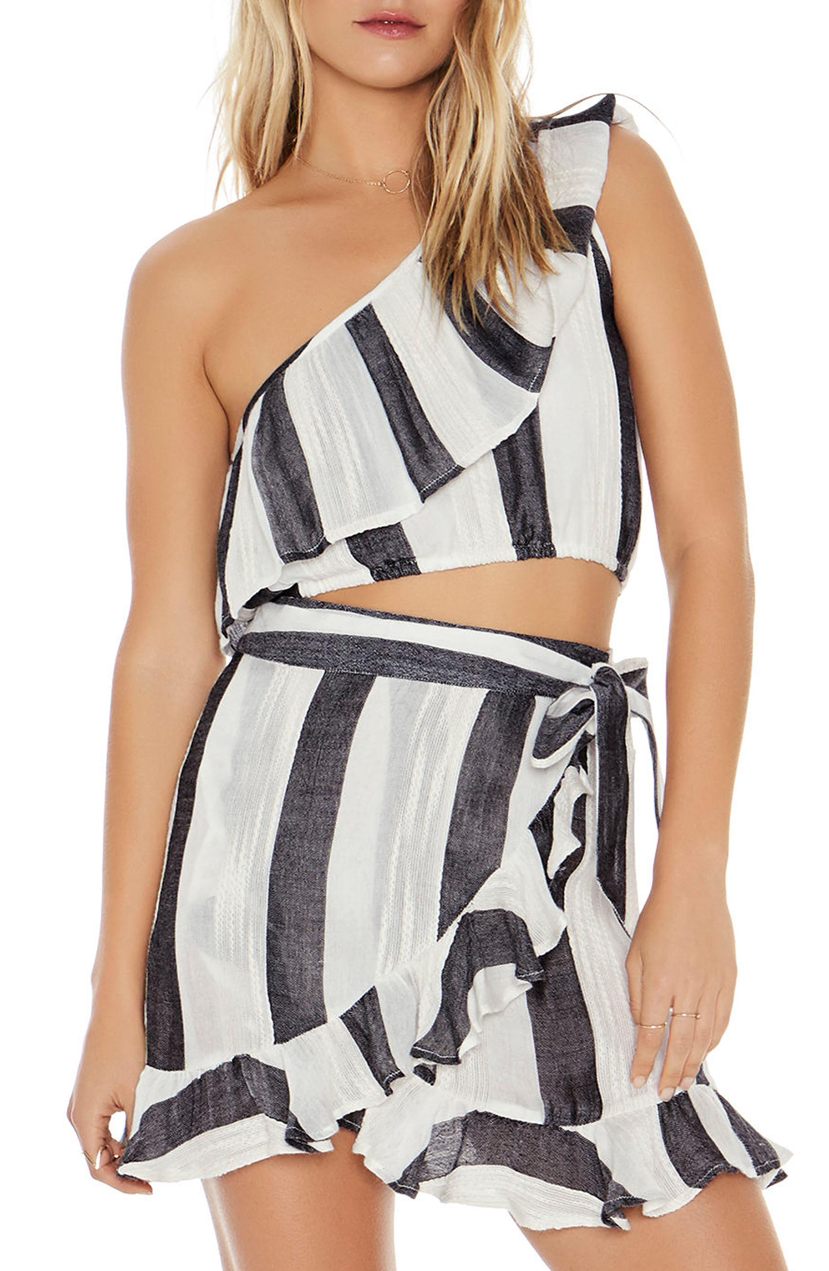 Alicia One-Shoulder Cover-Up Top,                         Main,                         color, Beach Bum Stripe