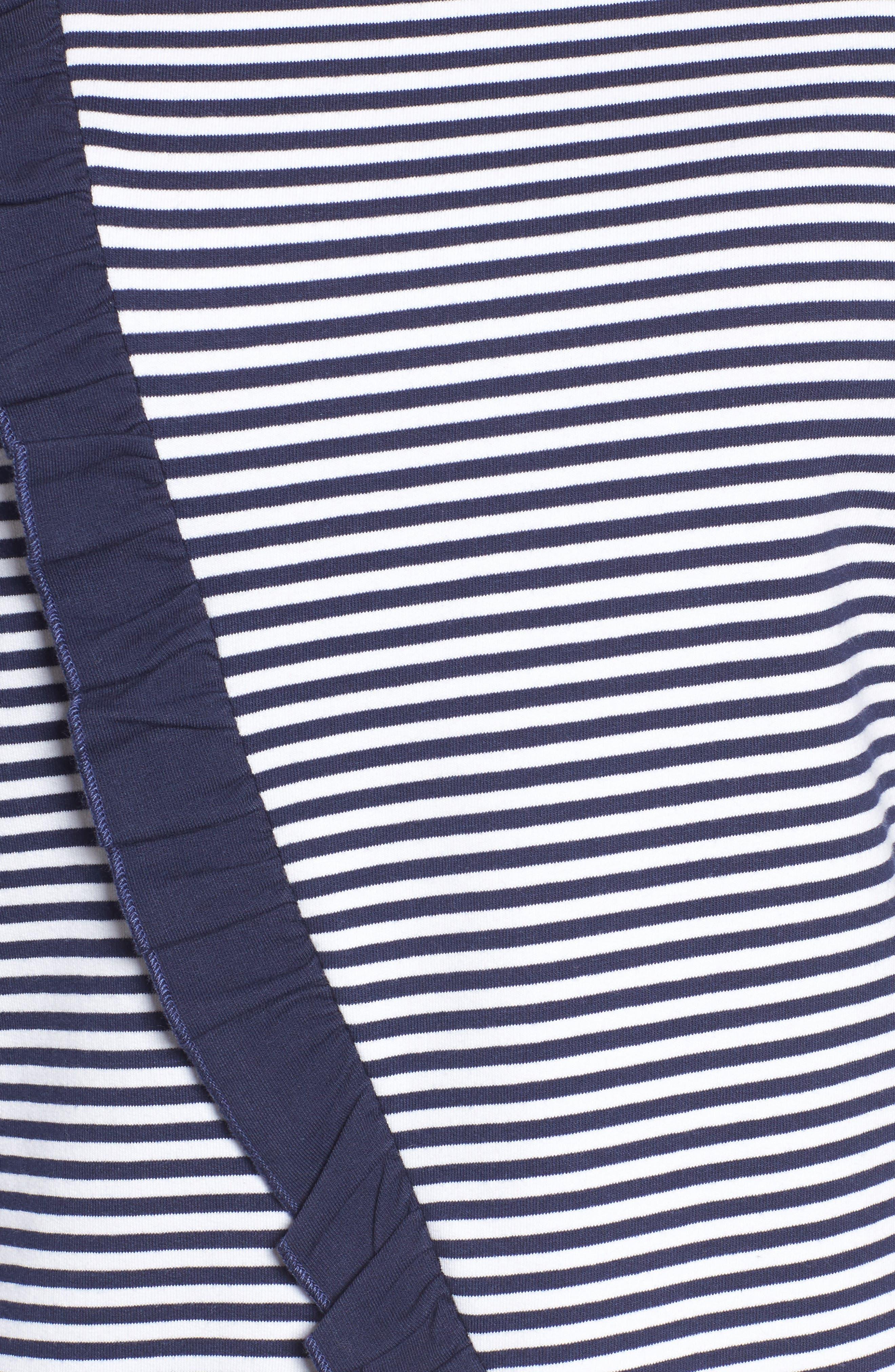 Ruffle Wrap Top,                             Alternate thumbnail 5, color,                             Navy- White Stripe