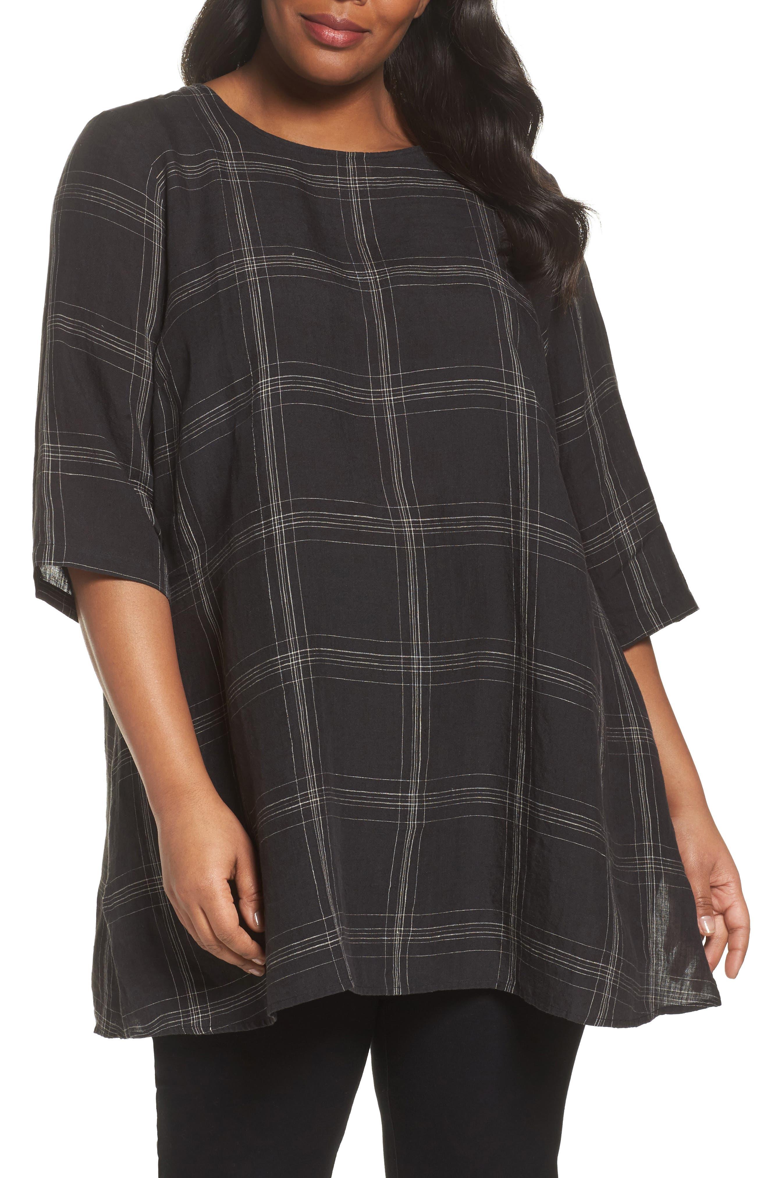 Plaid Organic Linen Tunic,                             Main thumbnail 1, color,                             Black