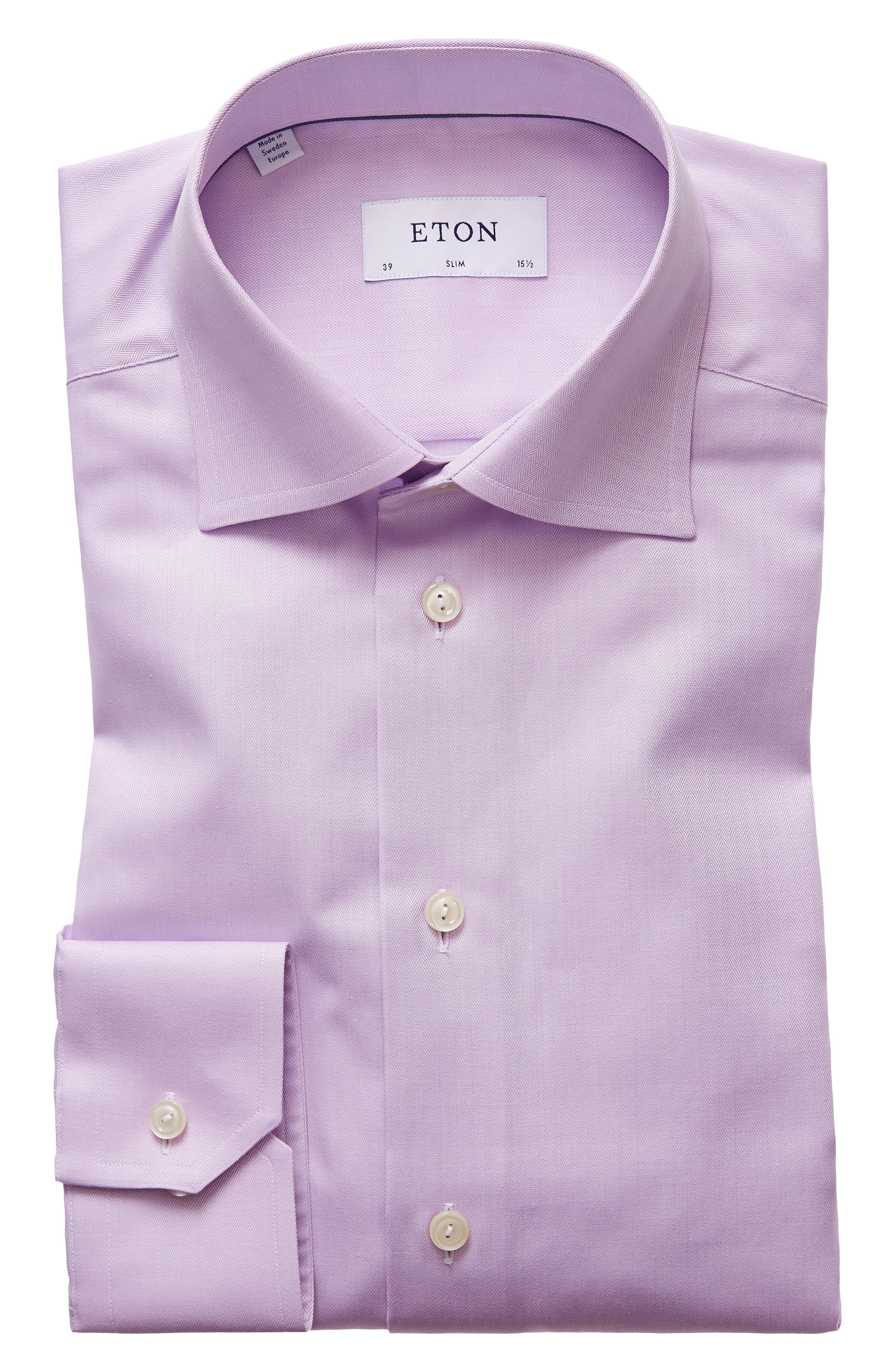 Slim Fit Herringbone Dress Shirt,                         Main,                         color, Purple